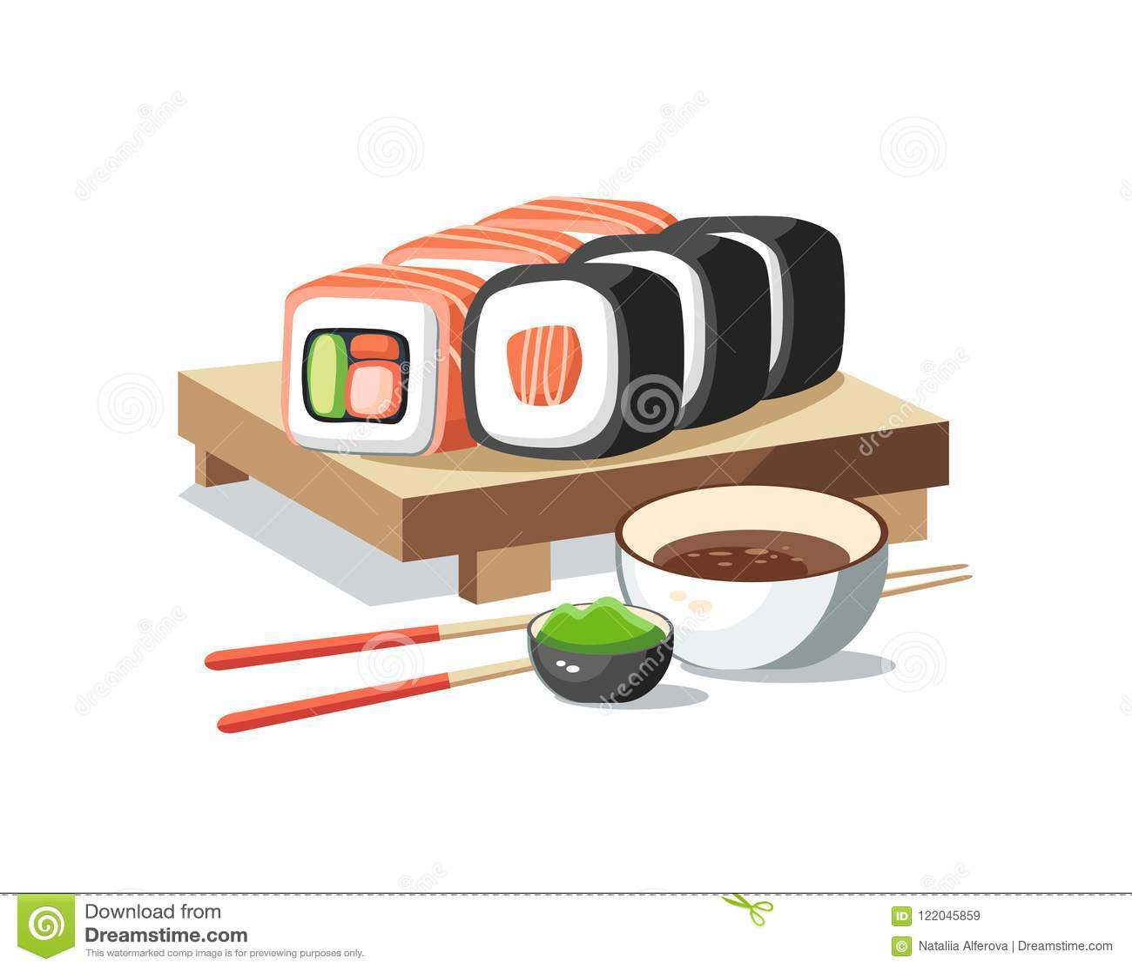 Suszi rolki ustawiają lying on the beach na deski smakowity wyśmienicie z wasabi a