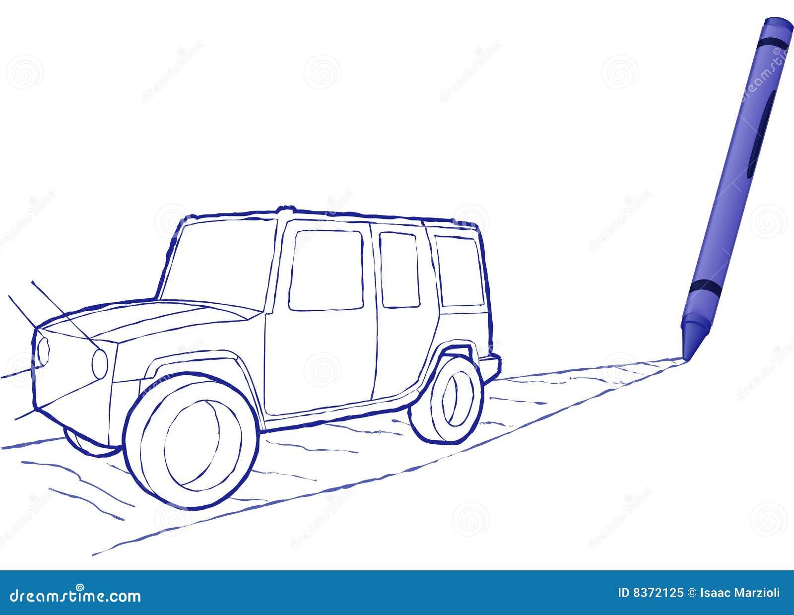 Suv drenado creyón - ilustración del vector