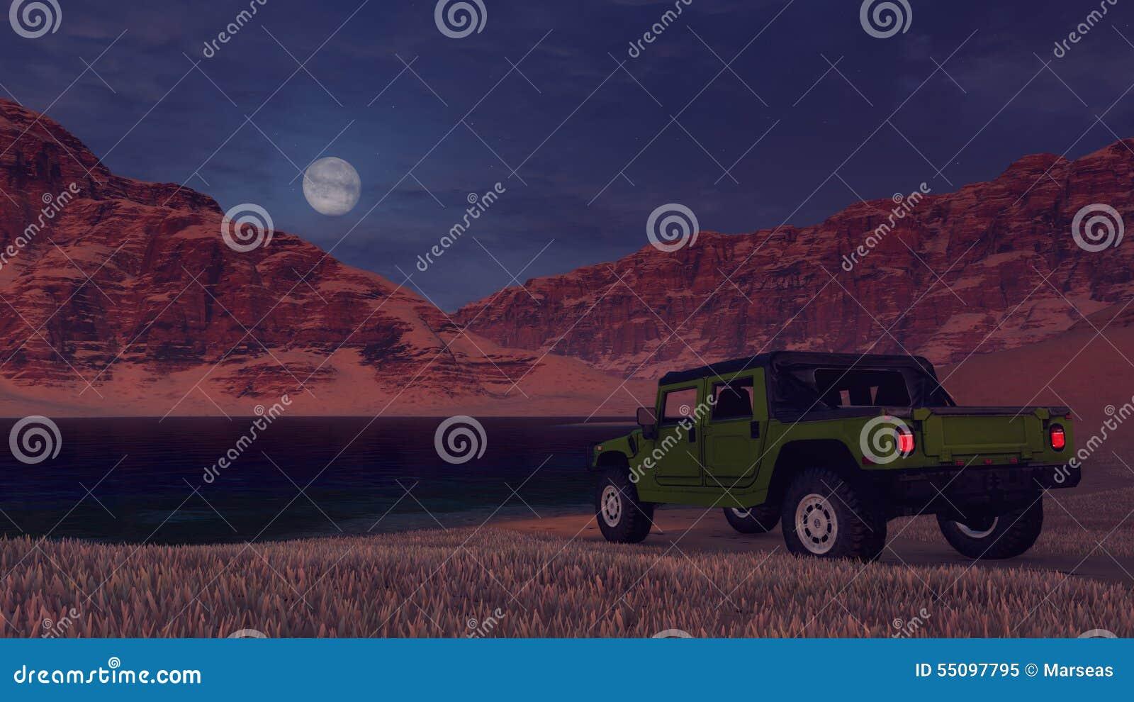 SUV no banco do lago do deserto sob a Lua cheia