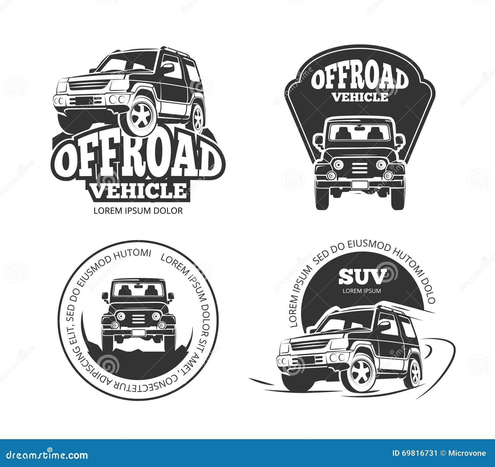 Suv Pickup Retro Vector Emblems Logos Badges And Labels Stock