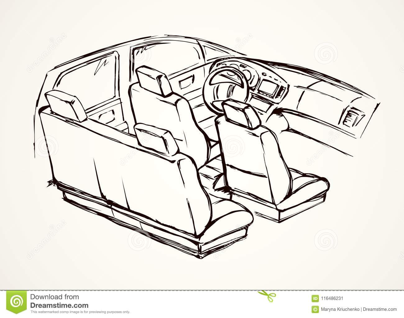 Interior of the car vector drawing