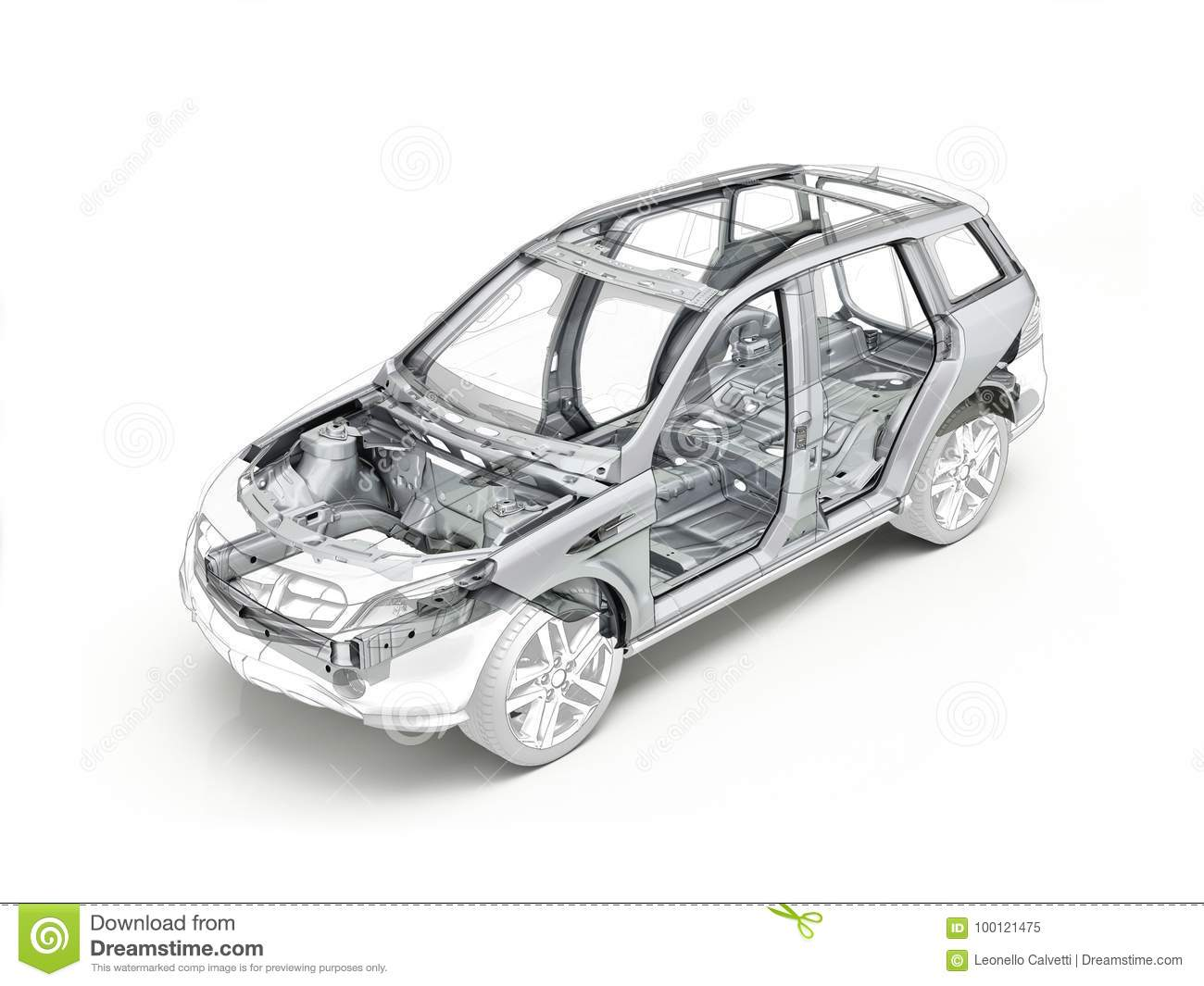 Suv Technical Drawing Showing The Car Chassis. Stock Illustration ...