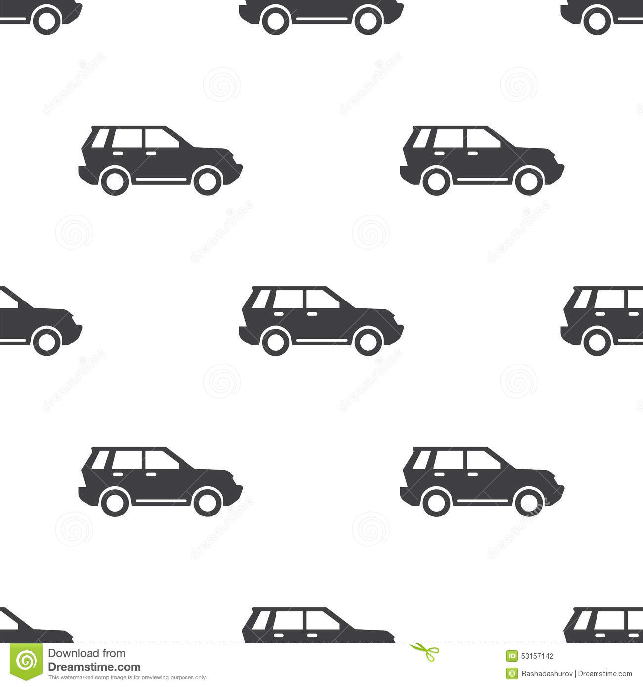 Suv Vector Seamless Pattern Stock Vector Image