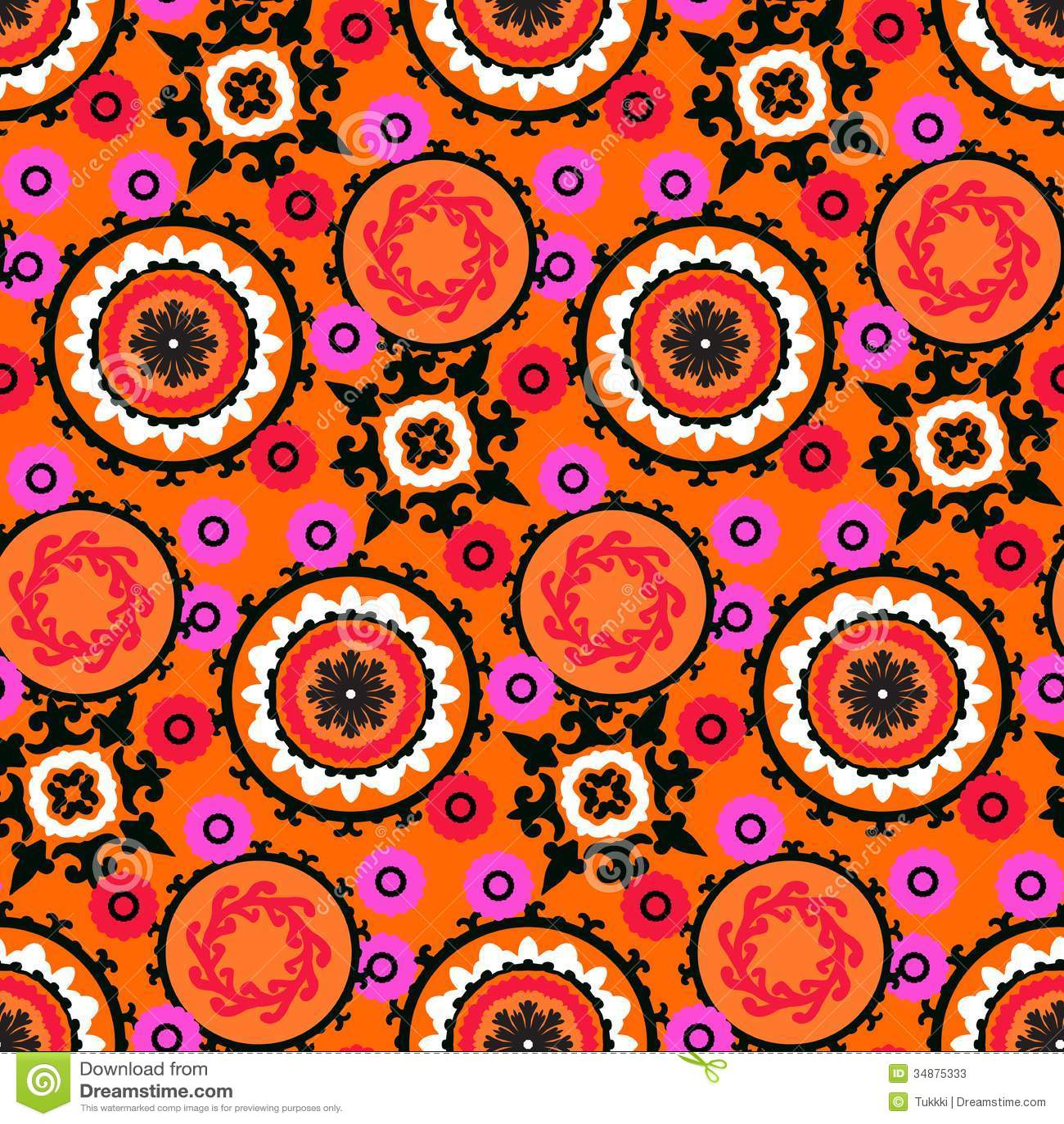 Suzani Pattern Stock Vector Image Of Drawing Fabric