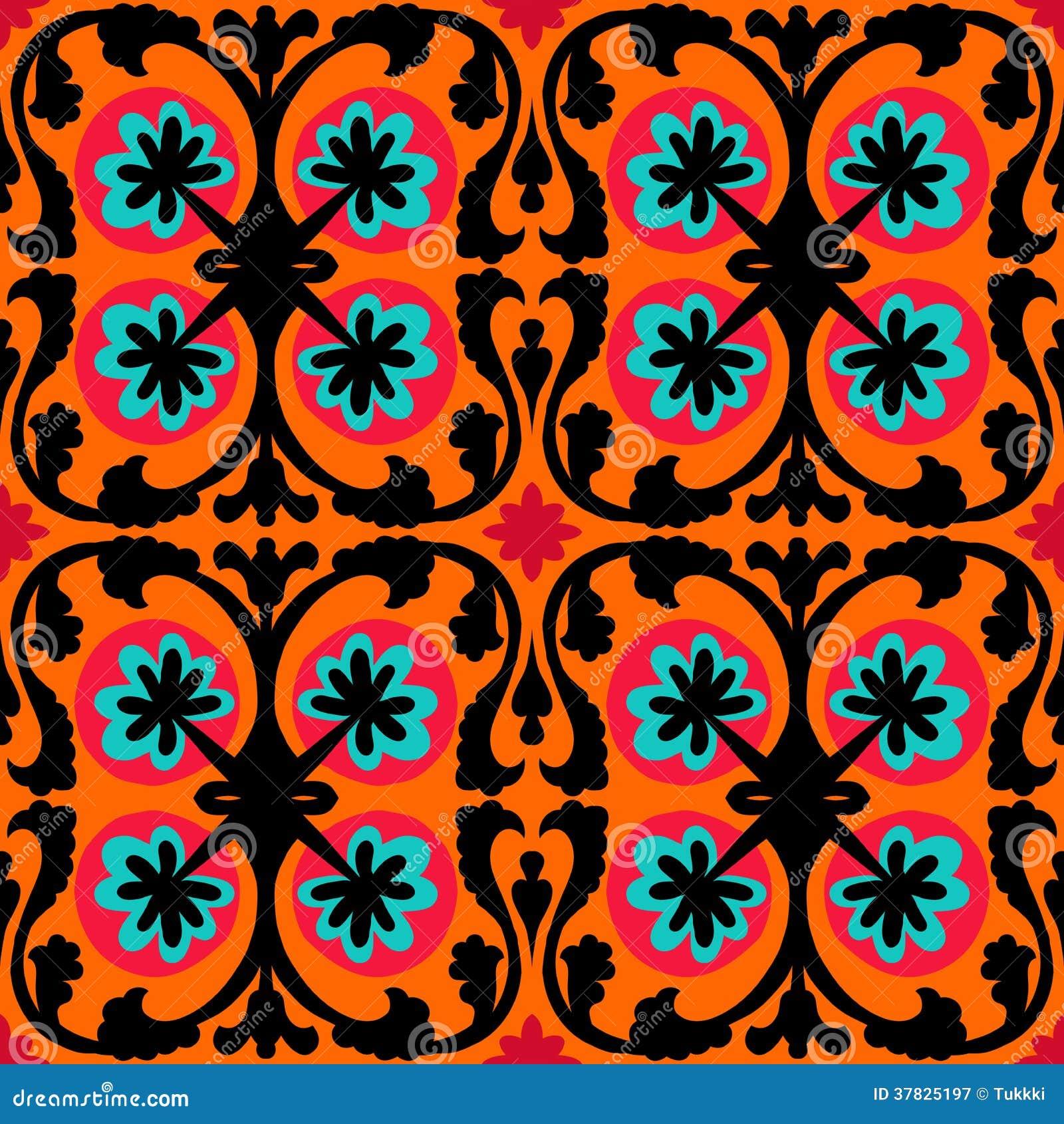suzani pattern with uzbek and kazakh motifs royalty free