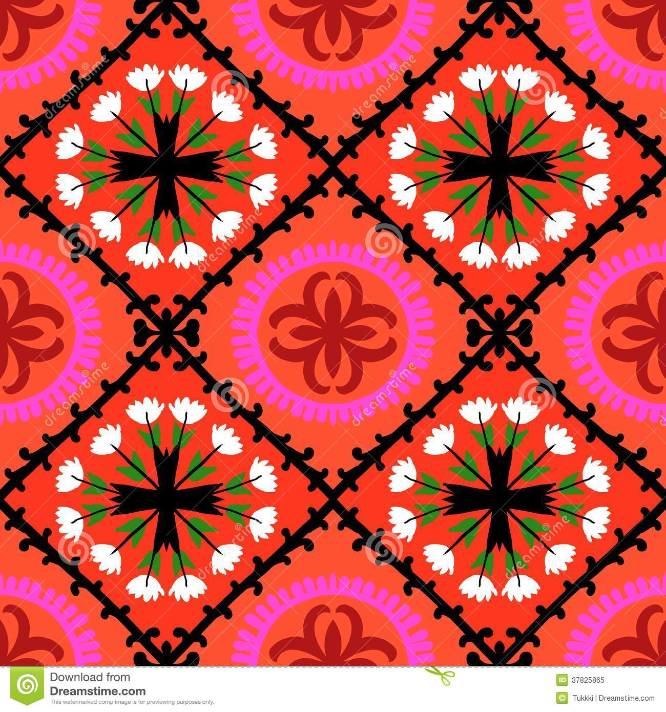 Suzani Pattern With Uzbek And Kazakh Motifs Royalty Free