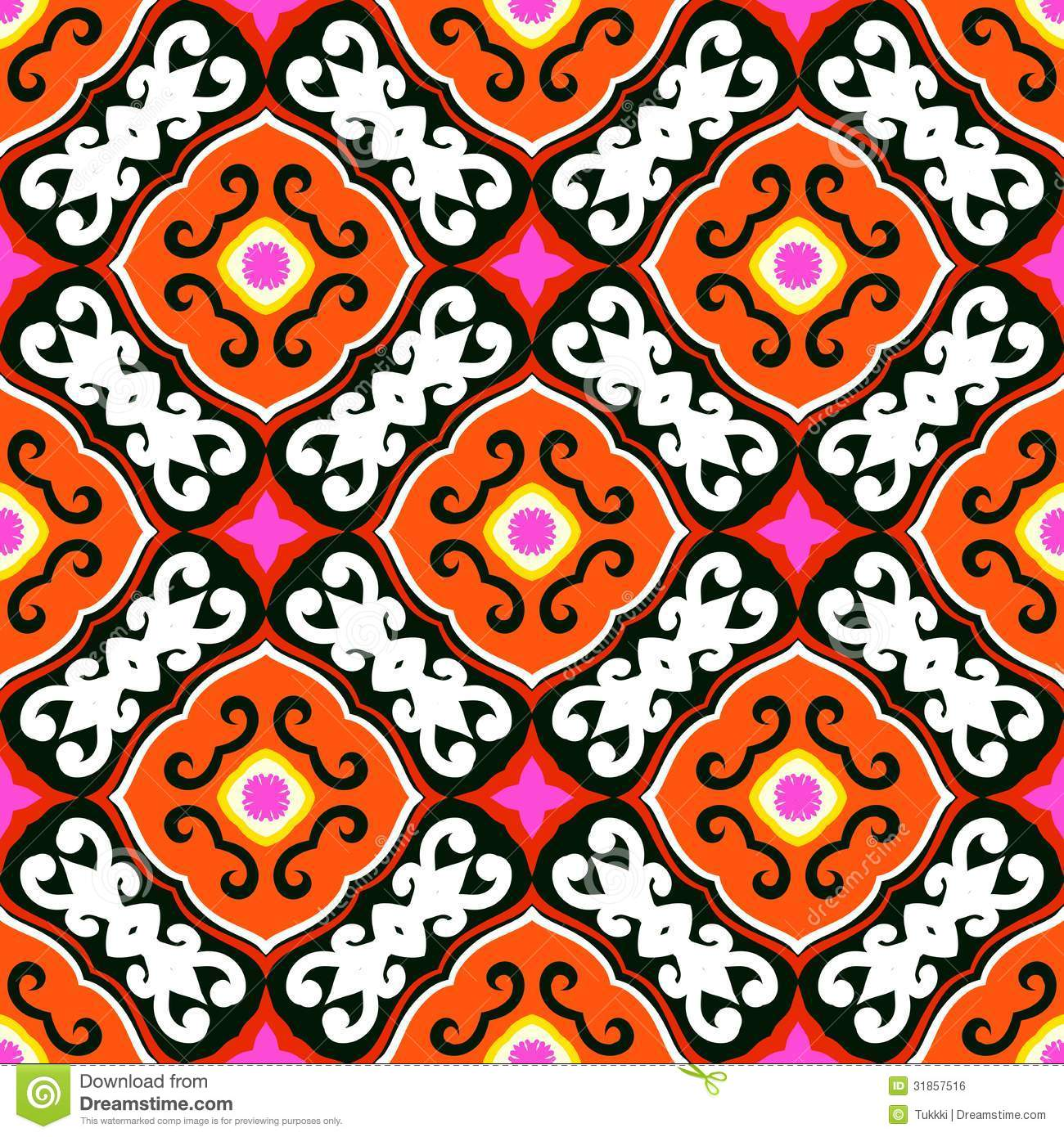 Suzani Vector Pattern With Bold Ornament Royalty Free