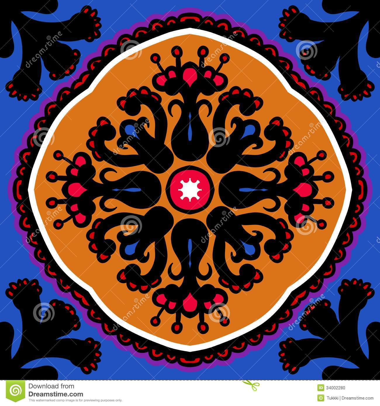 Suzani vector seamless ethnic pattern stock photo image for Bright vibrant colors