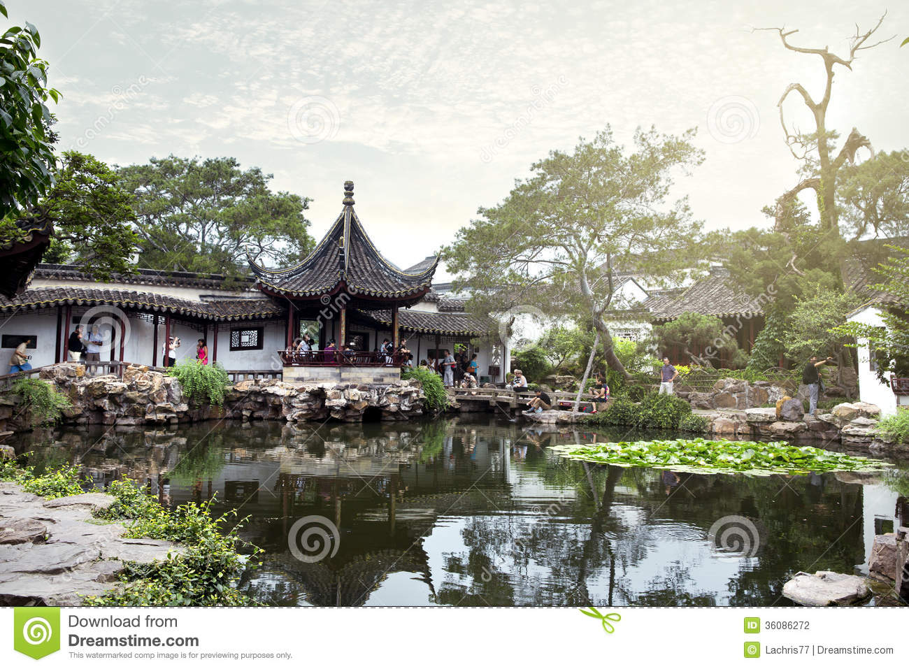 Suzhou China  City pictures : Chinese classical garden with pavilions and pond in Suzhou, China.
