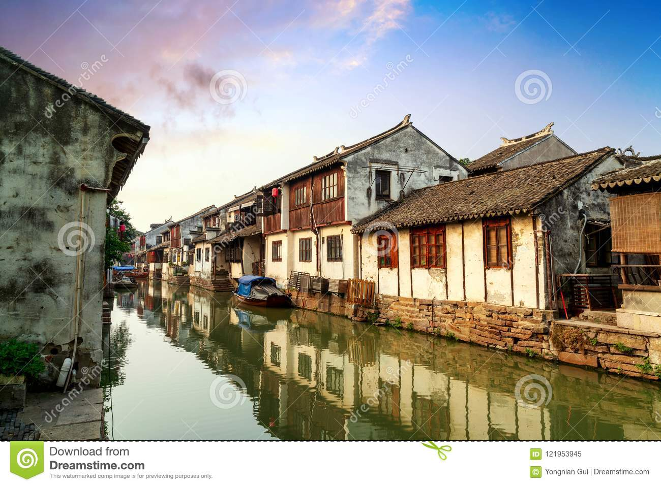 Suzhou Ancient Town Night View Stock Image - Image of chinese ...