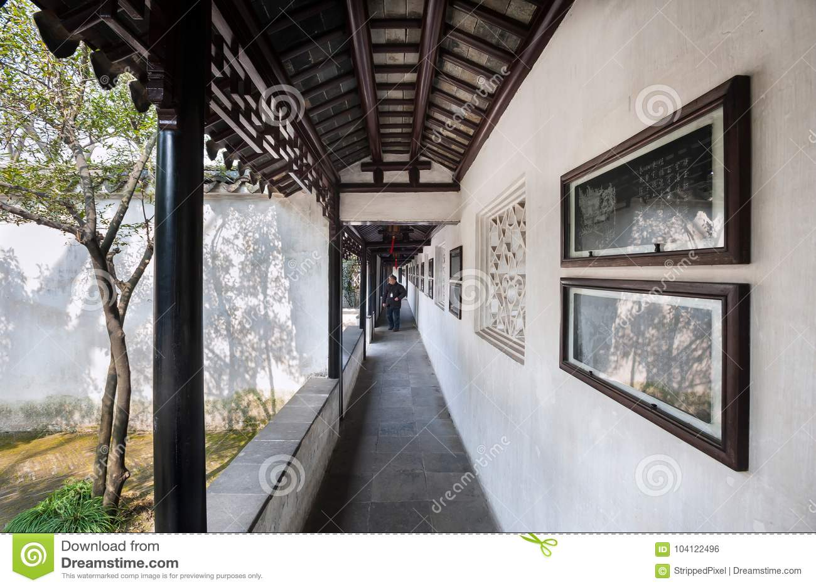 Outdoor cloister at the Lion Grove Garden, Suzhou