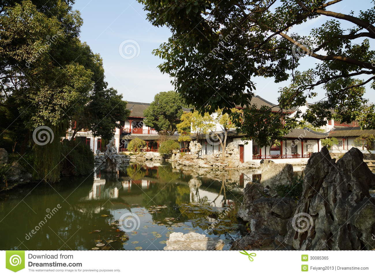 Suzhou Traditional Garden;Suzhou Gardens; Stock Image - Image of