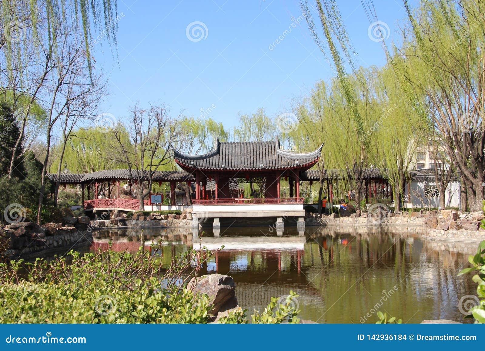 Suzhou trädgård i vår