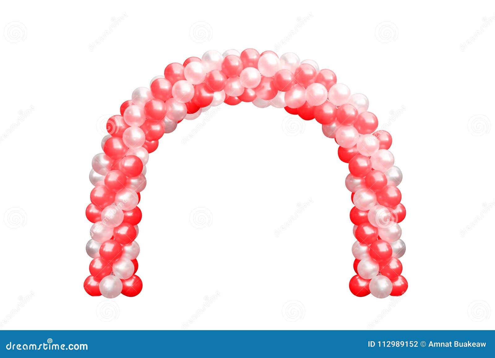 Svälla den vit valvgångdörren som är röd och, bågar som gifta sig, beståndsdelar för garnering för ballongfestivaldesign med ärke