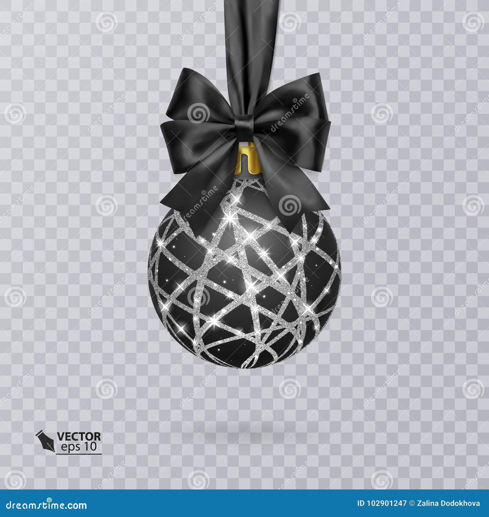Svärta jul klumpa ihop sig dekorerat med en realistisk svart pilbåge och ett skinande, silverprydnad också vektor för coreldrawil