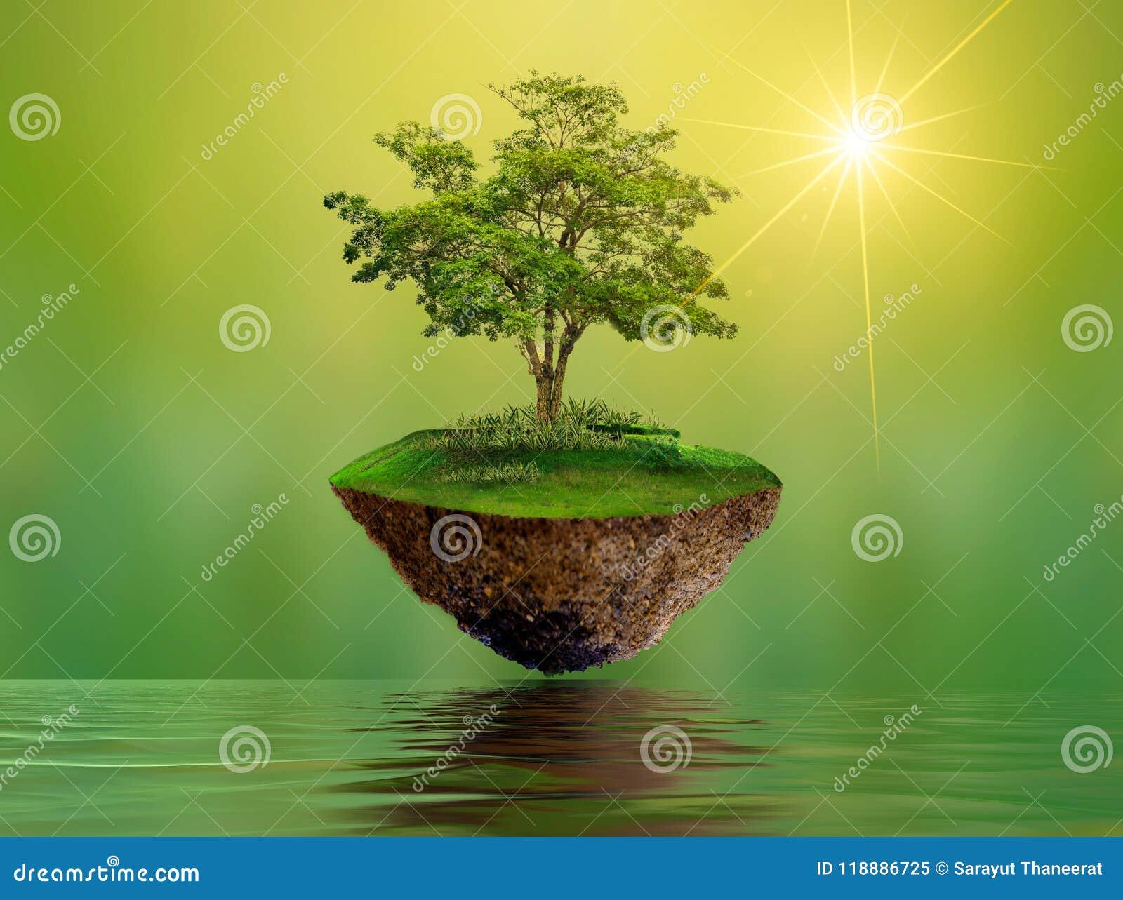 Sväva öar med trädsjöfloden i miljön för dag för beskydd för värld för dag för himmelvärldsmiljö