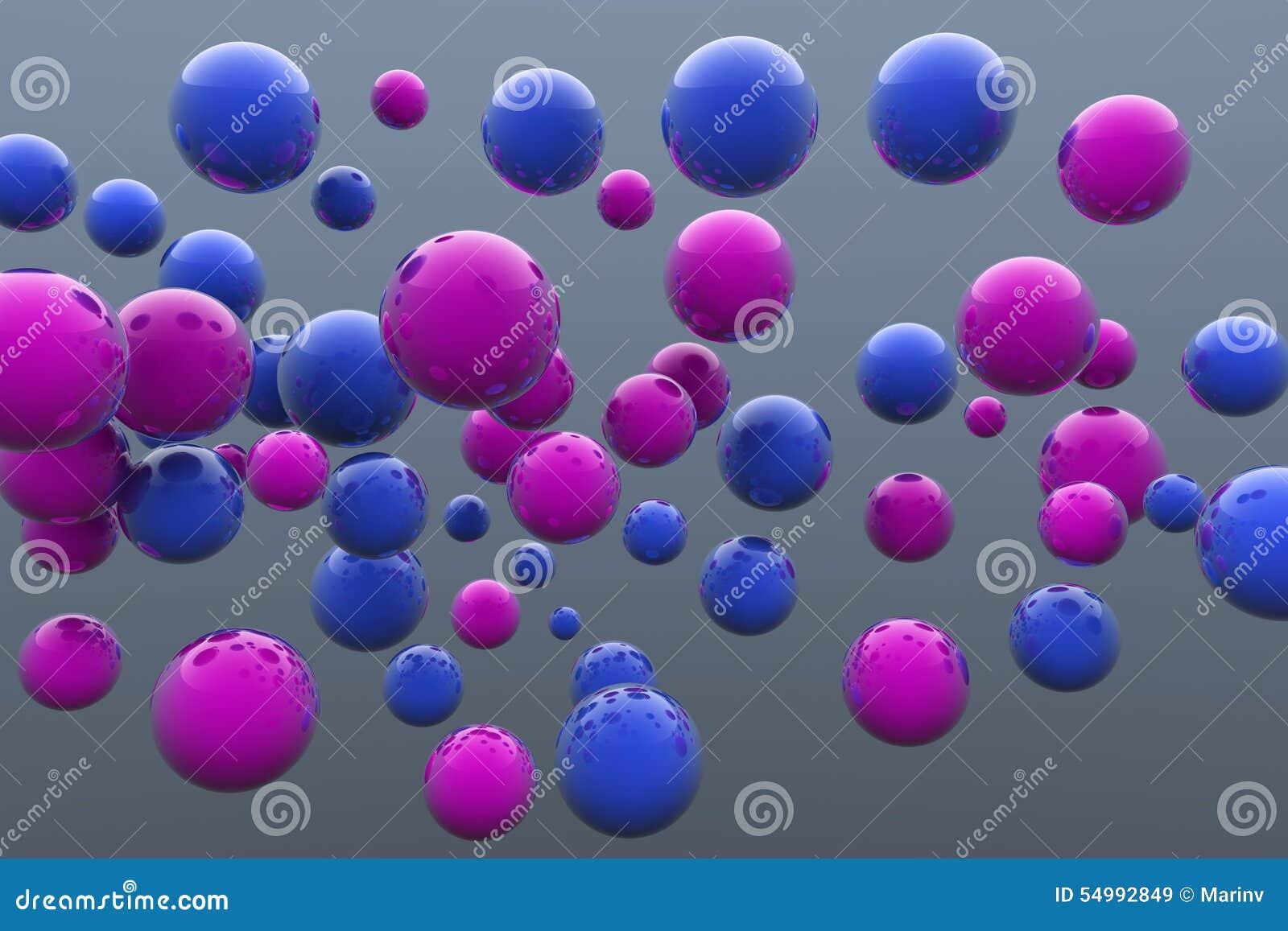 Sväva blått- och rosa färgbollar