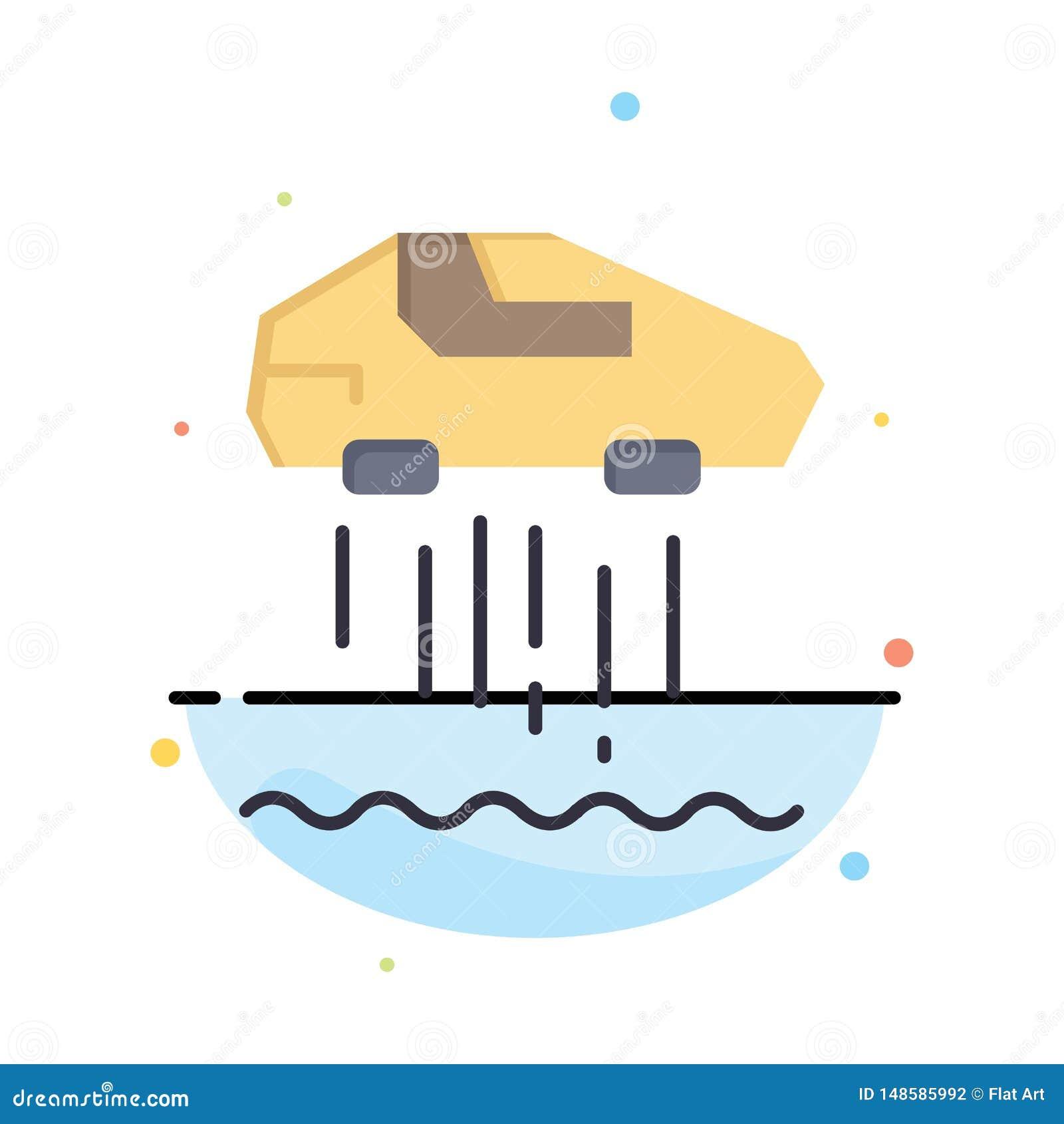 Svävandebil som är personlig, bil, för färgsymbol för teknologi abstrakt plan mall