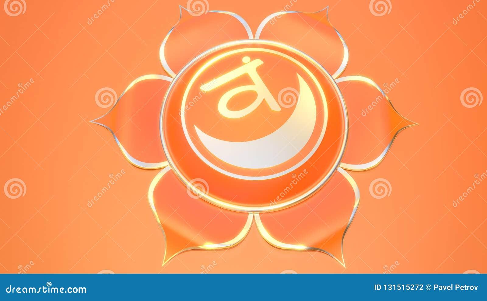 Svadhistana chakra symbol używać w hinduizmu, buddyzm, Ayurveda 3d ilustracji muladhara Równowaga i energia