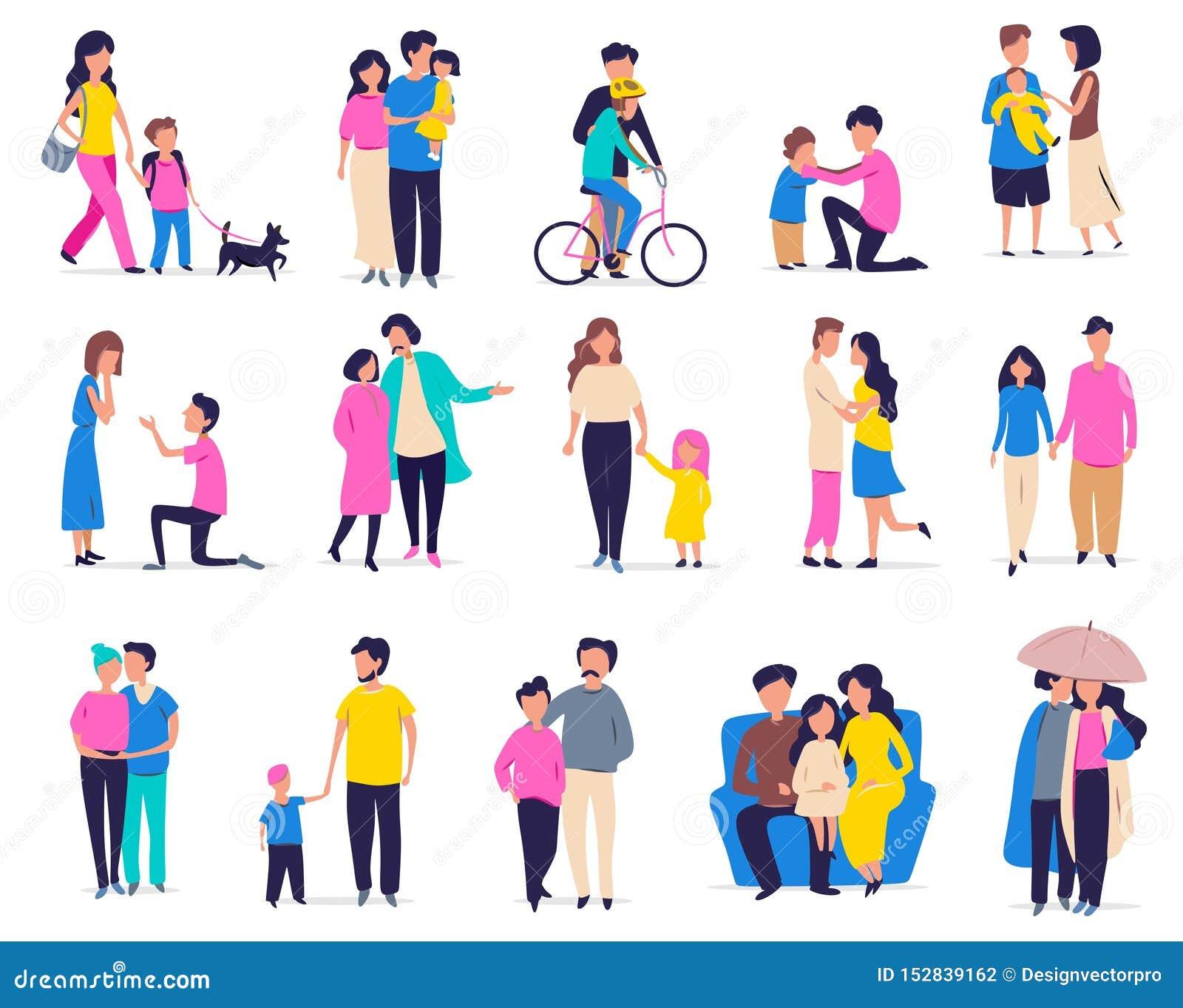 Svago ed attività della famiglia Illustrazione di vettore con le coppie, famiglie con i bambini ed amici nello stile piano del fu