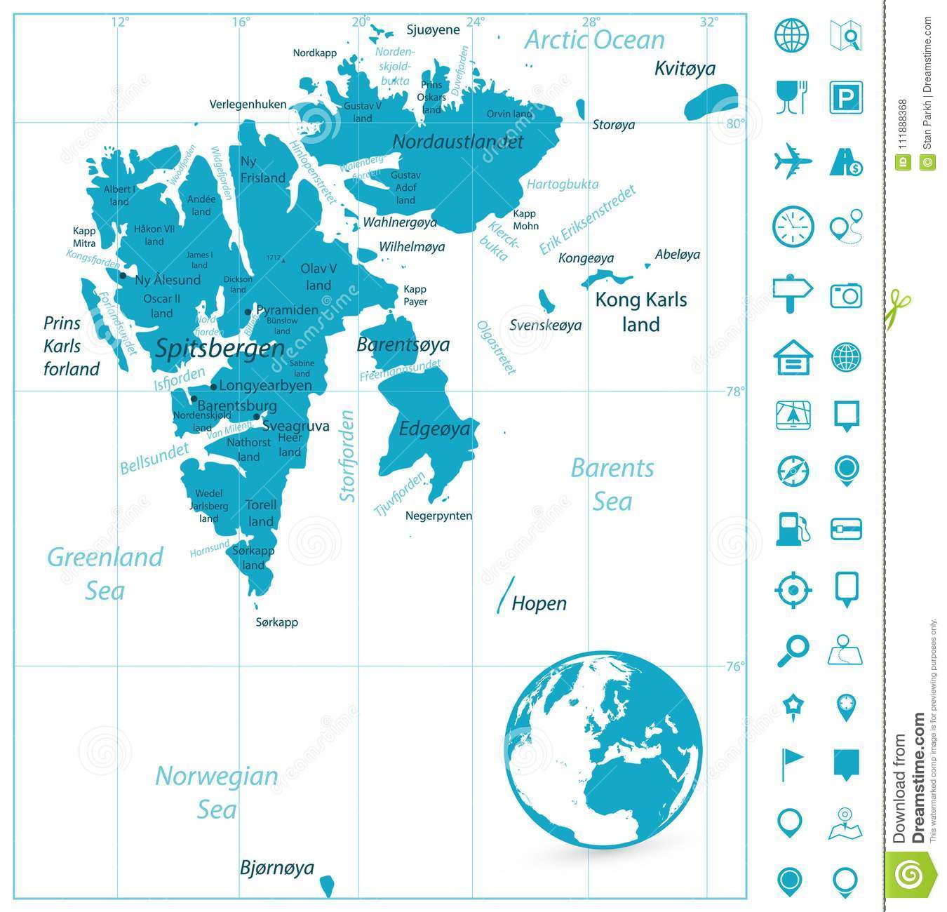 Svalbard Map And Navigation Icons Stock Vector - Illustration of ...