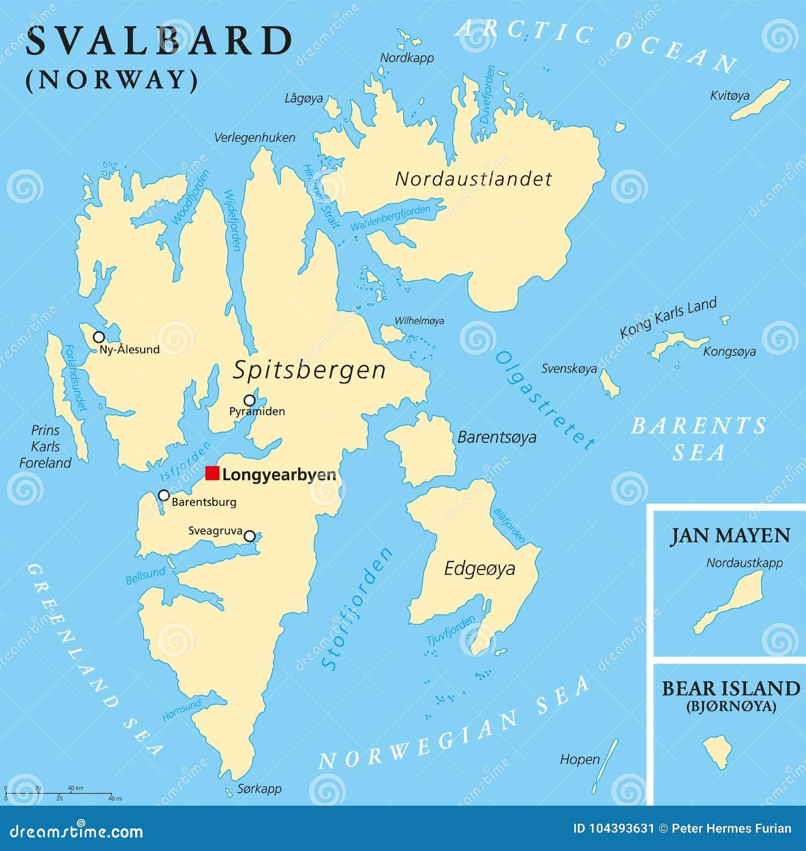 Svalbard Political Map Stock Vector Illustration Of Mayen