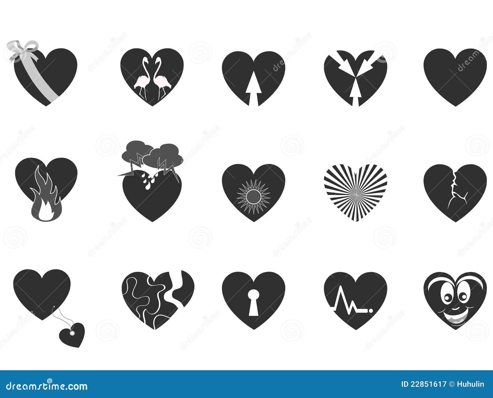 Svart älska för hjärtasymbol