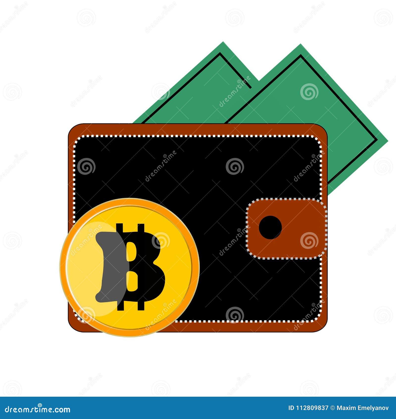 Svart är den bruna handväskan av ½ е för ¾ Ð för ¼ Ð för 'Ð för ¾ Ñ€Ñ för Ð-¿ Ð med knappbitcoinen bankvit och guling på en vit