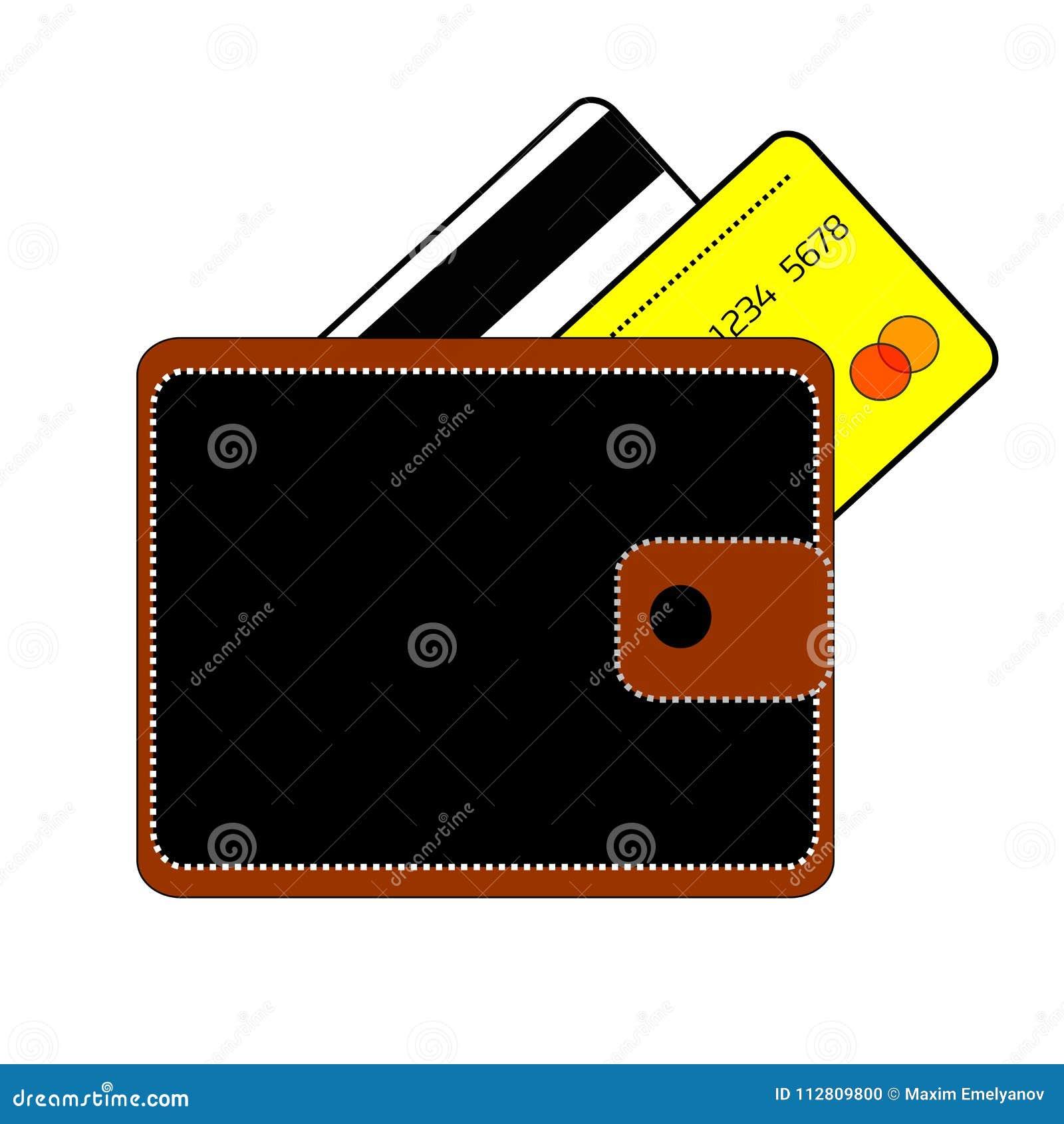 Svart är den bruna handväskan med knappen och två kreditkortar bankvit och guling på en vit bakgrund