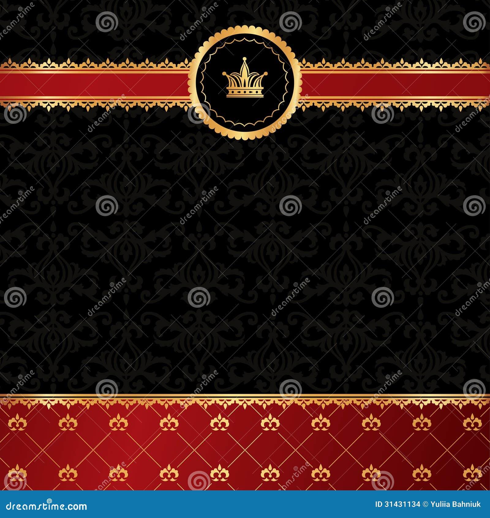 Svart bakgrund för tappning med guld- dekorativ ri
