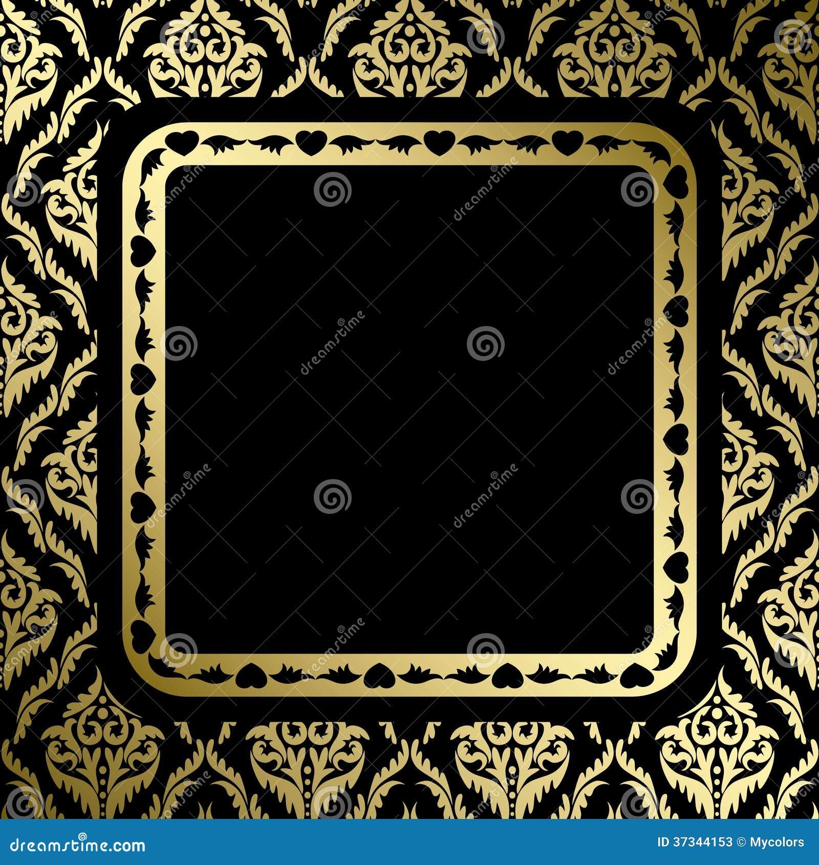 Svart bakgrund med den guld- prydnaden och ramen