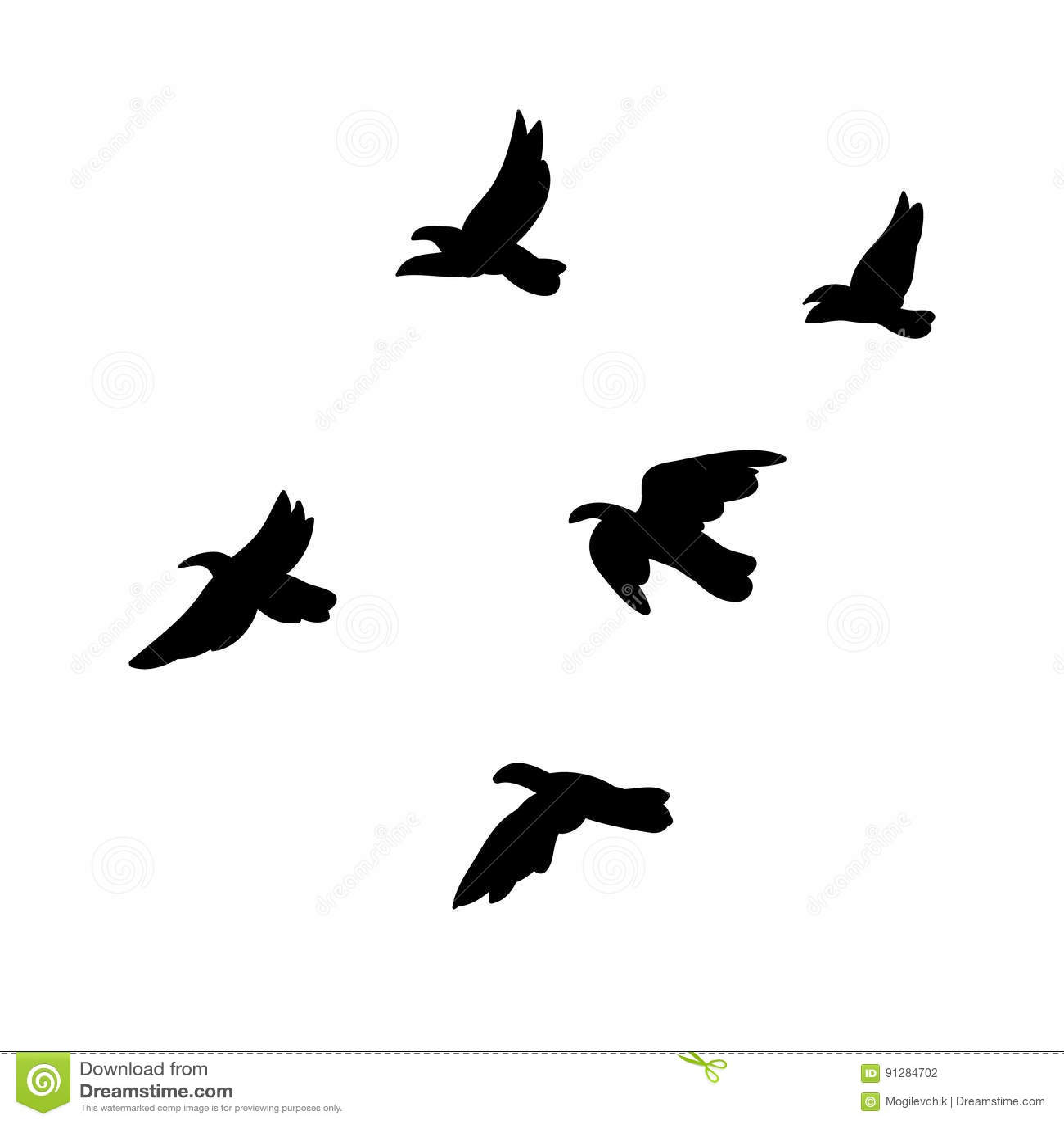 Svart begrepp för flock för flygfåglar