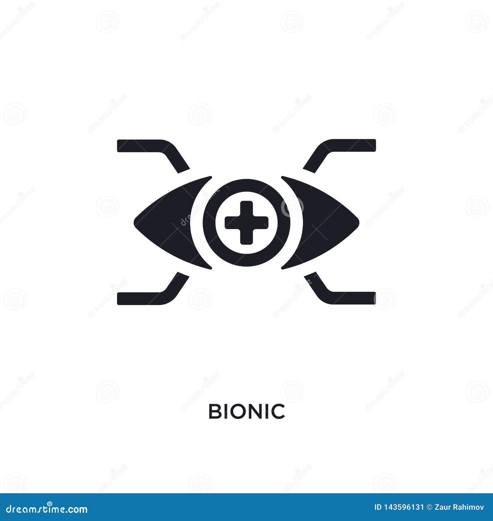Svart bionisk isolerad vektorsymbol enkel beståndsdelillustration från ökade symboler för verklighetbegreppsvektor bionisk redige