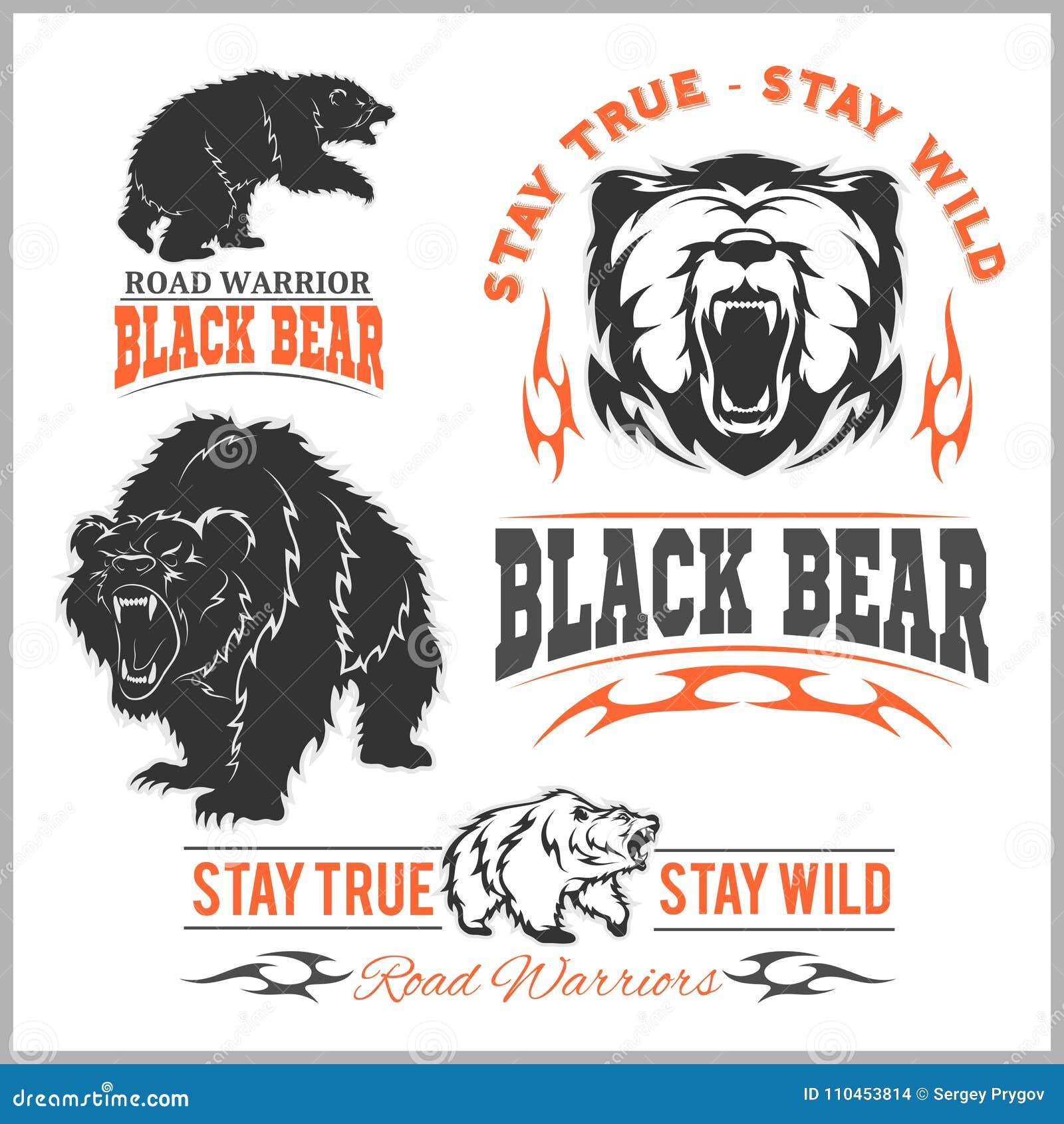 Svart björn för logo, emblem för sportlag, designbeståndsdelar och etiketter