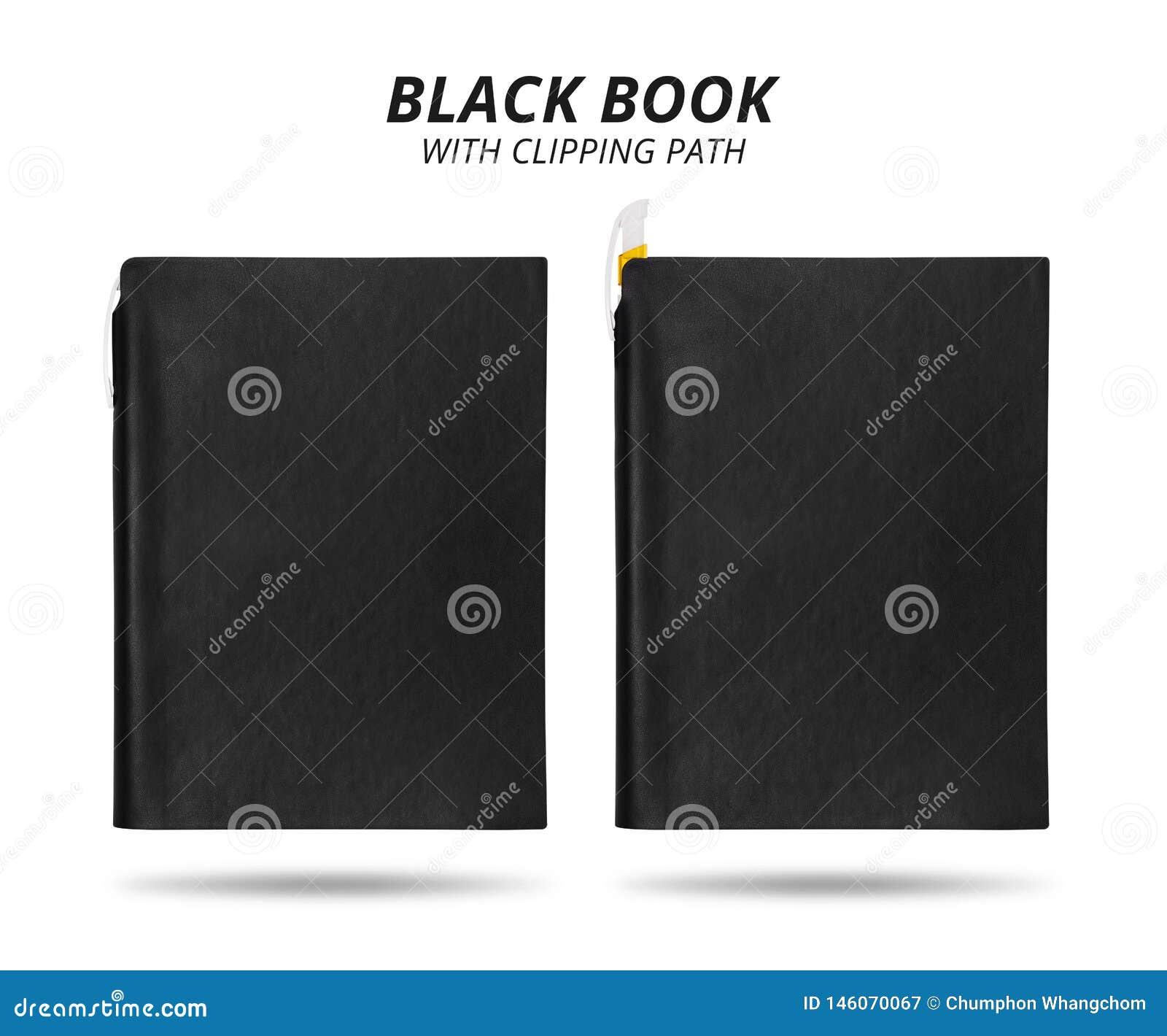 Svart bok som isoleras p? vit bakgrund Mallen av piskar boken med pennan för design Snabb bana