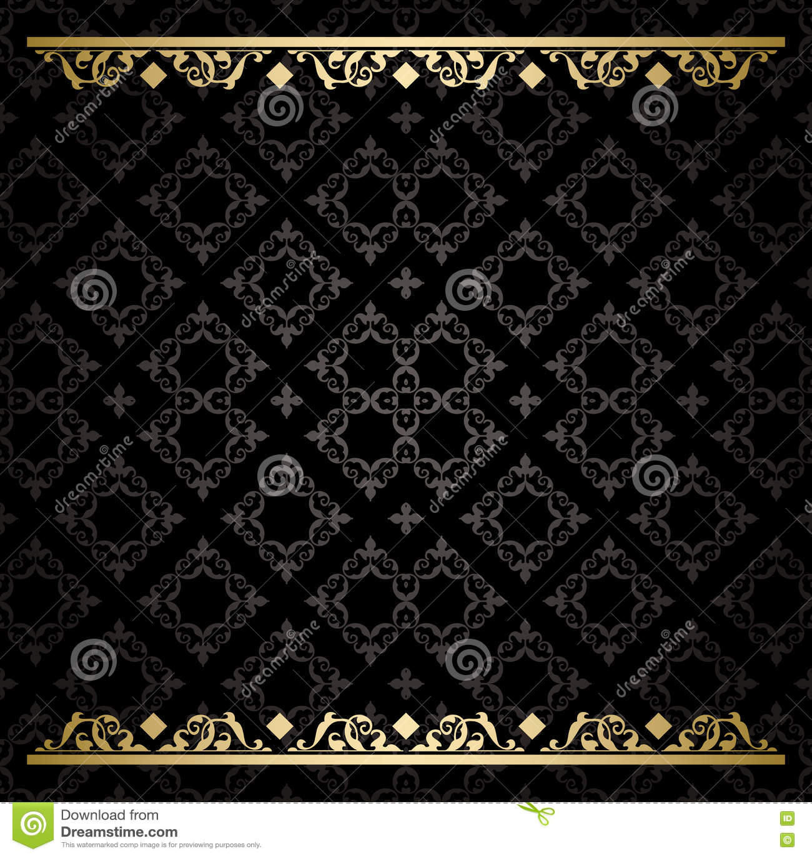 Svart dekorativ bakgrund med den guld- traceryen - modell