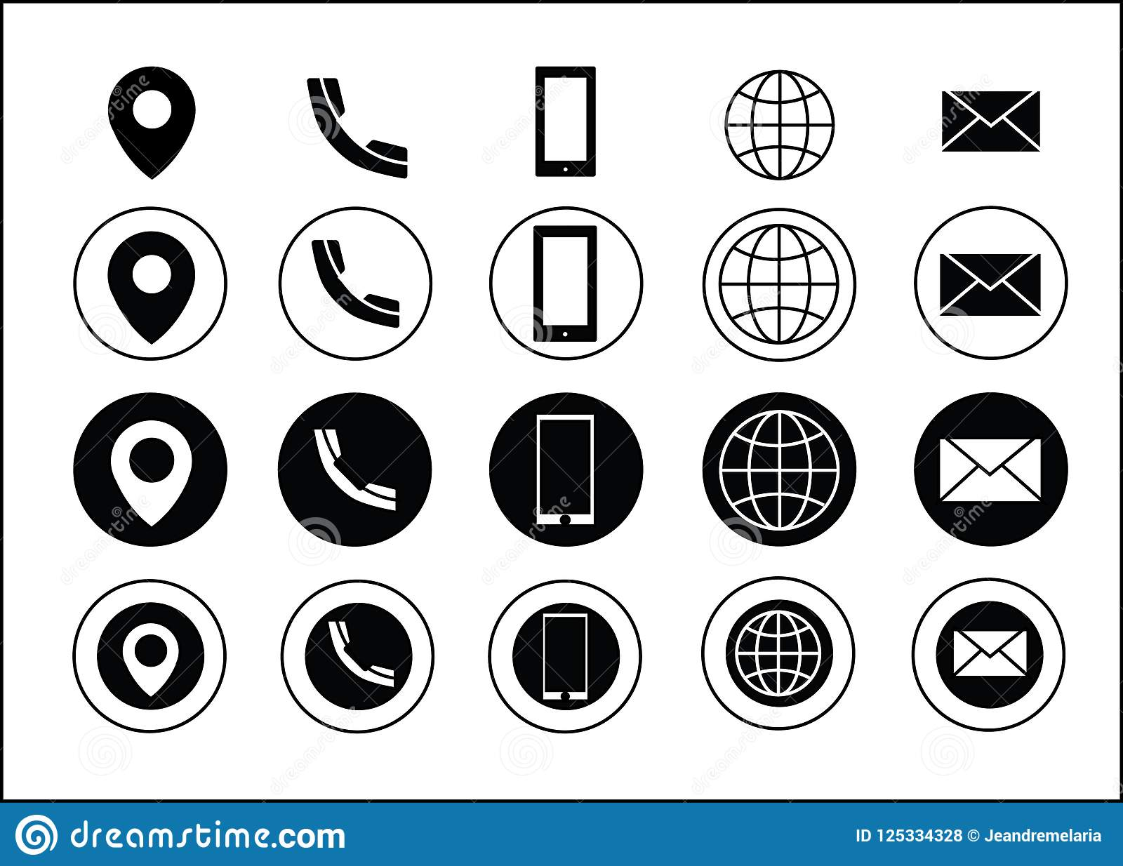 Svart för symboler för information om kontakt för vektoraffärskort