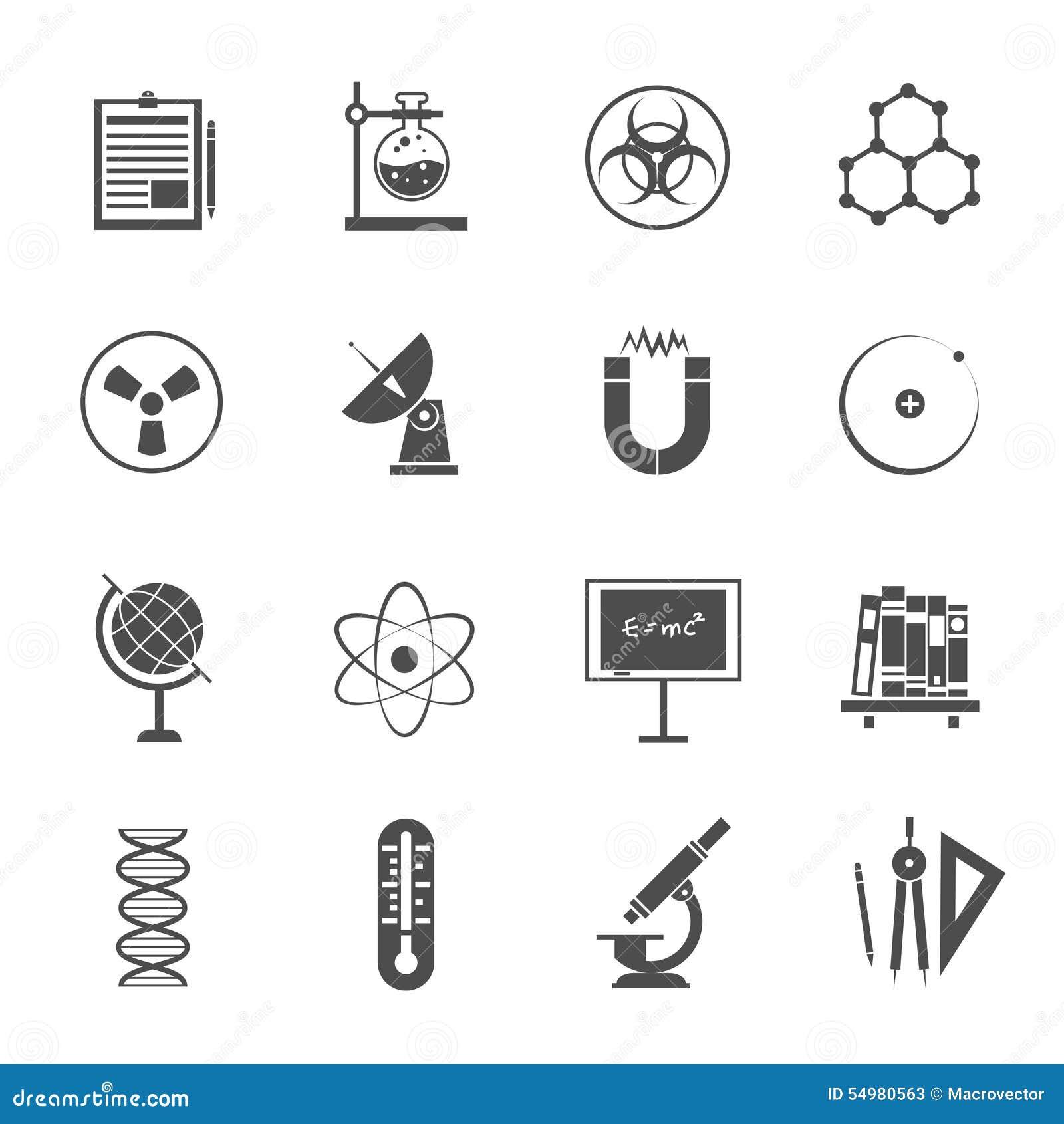 Svart för vetenskapssymbolsuppsättning