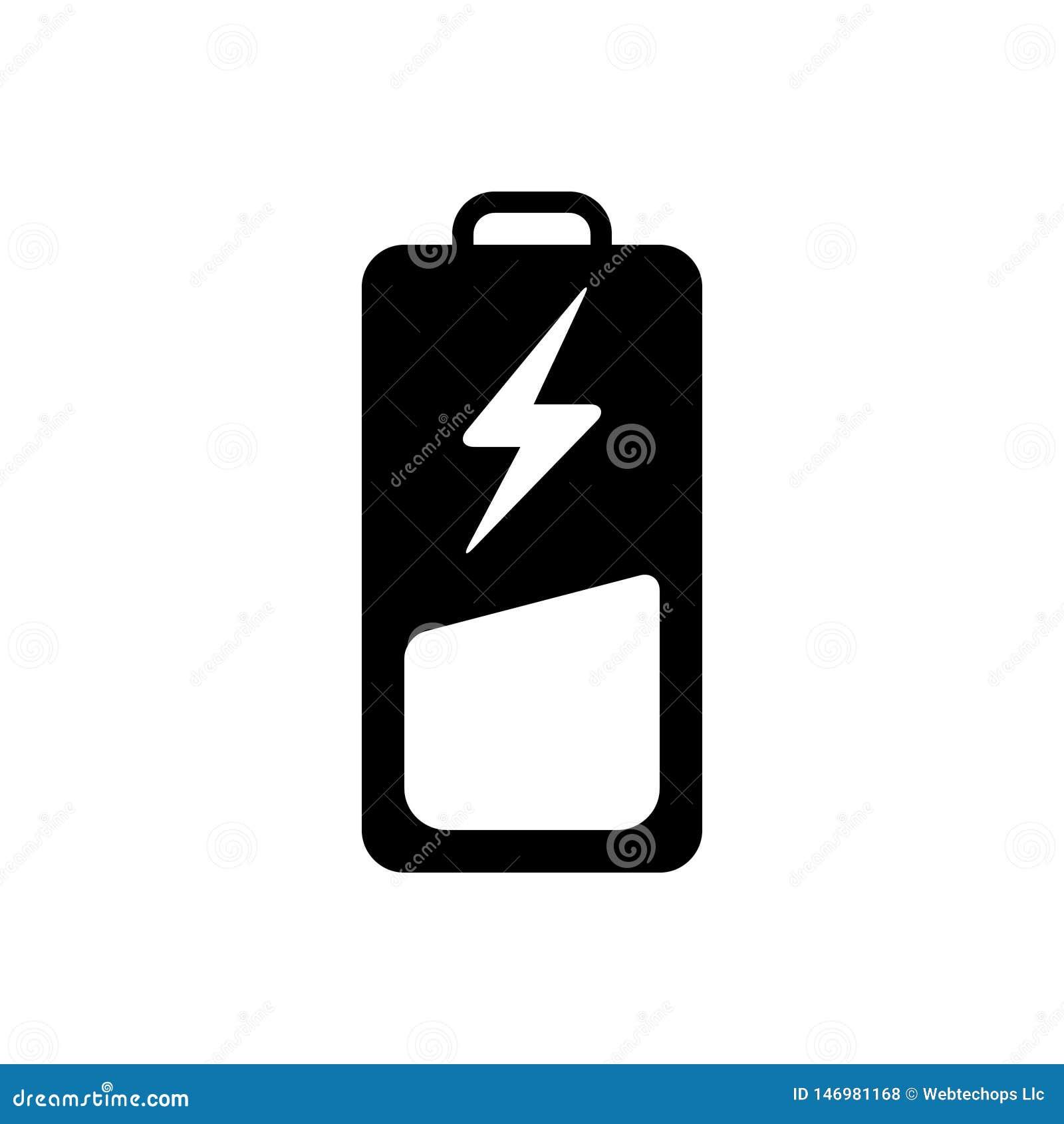 Svart fast symbol för batteri, laddning och bottenläge