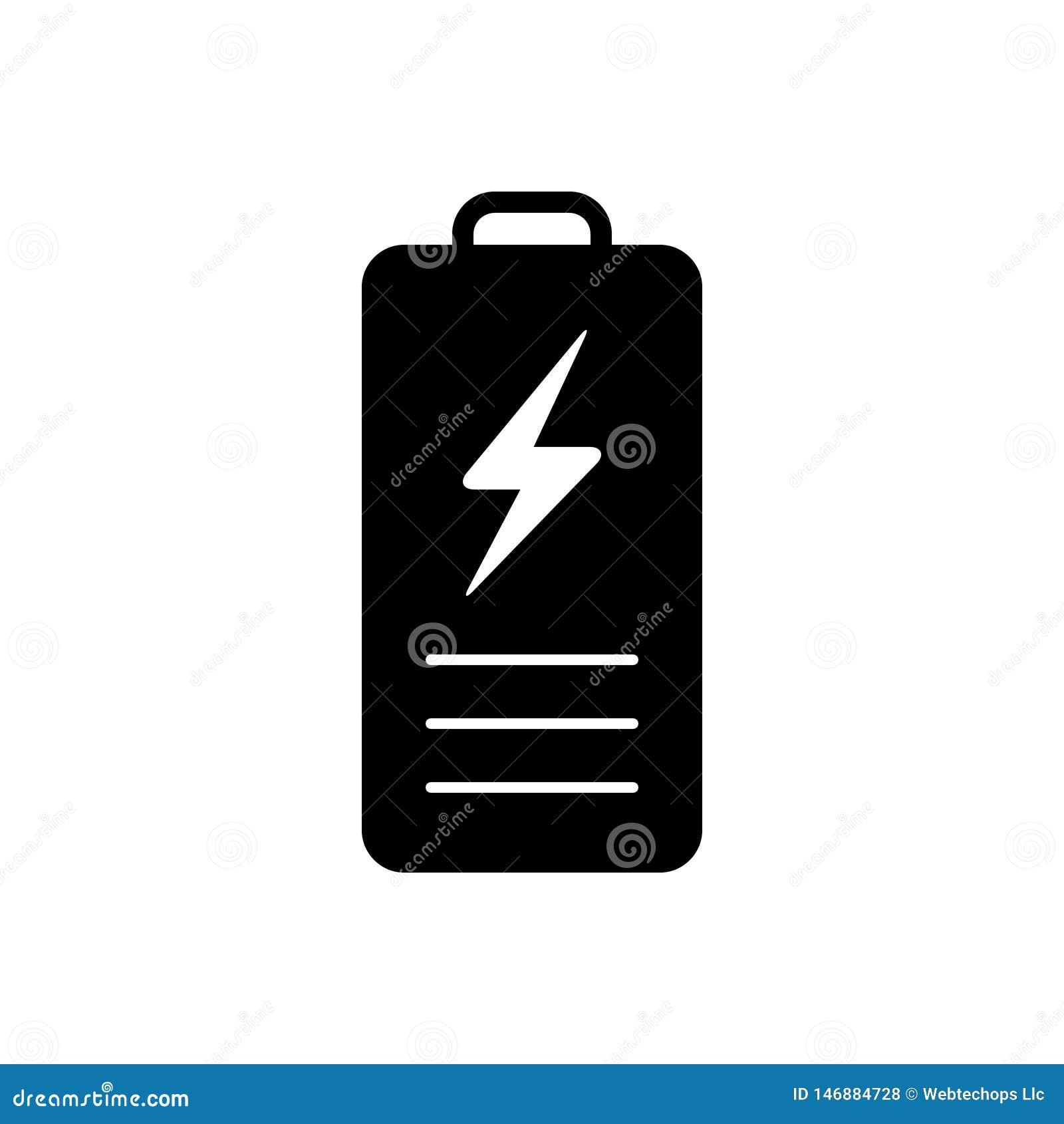 Svart fast symbol f?r batteri, laddning och makt