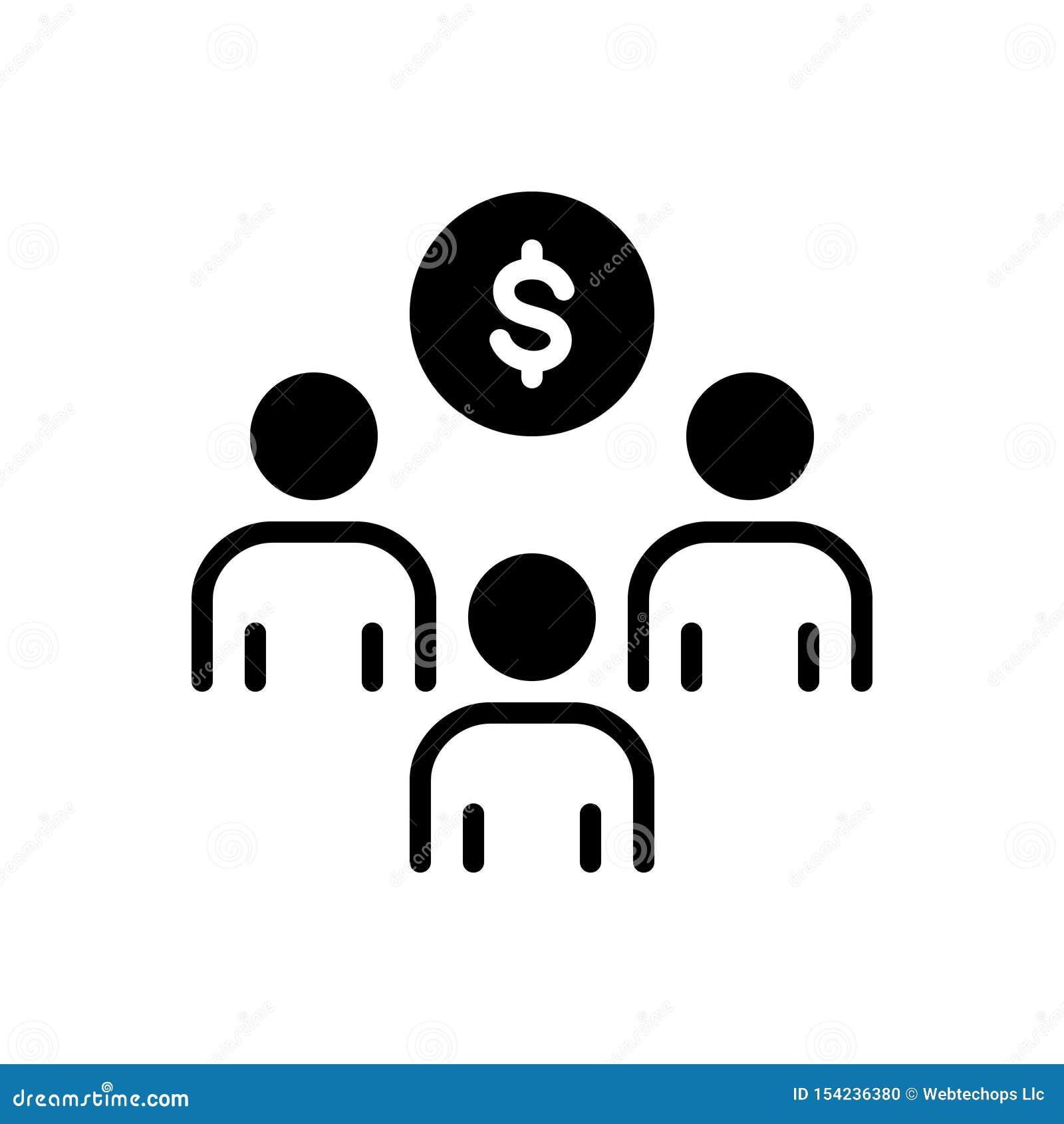 Svart fast symbol för investering, sponsorskap och strategiskt för sponsor