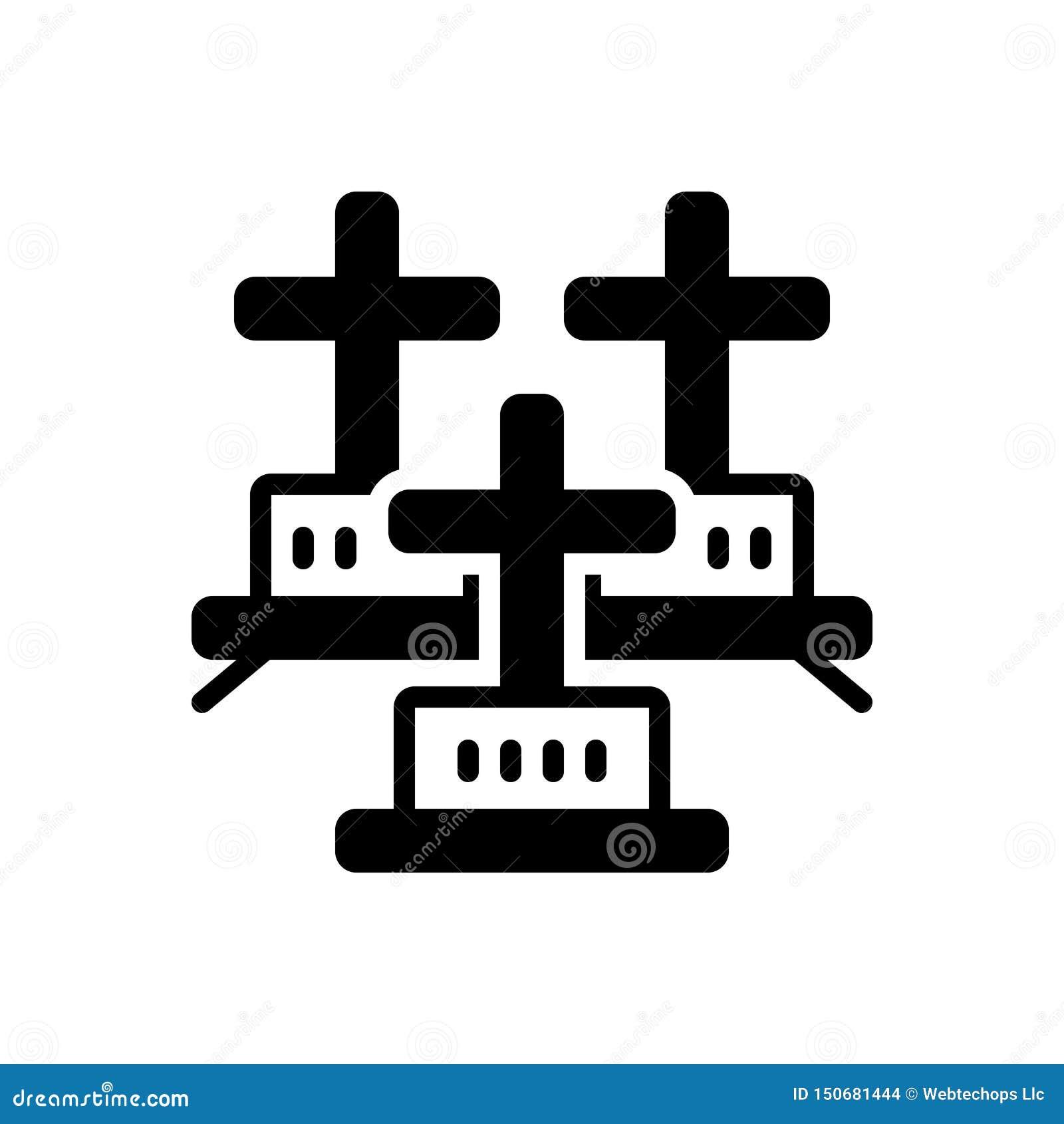 Svart fast symbol för kyrkogårdar, kyrkogård och sheol
