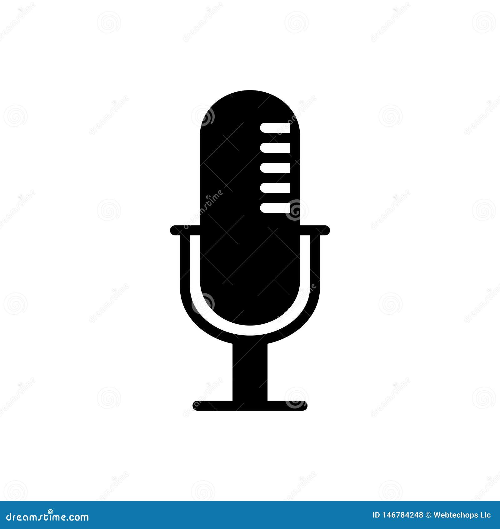 Svart fast symbol för Mike, meddelande och radio