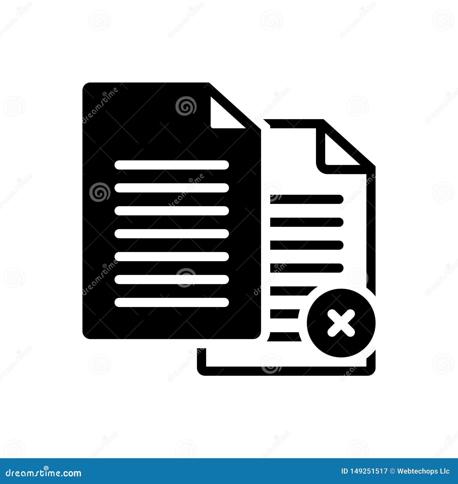 Svart fast symbol för Paperless, annullering och annullering