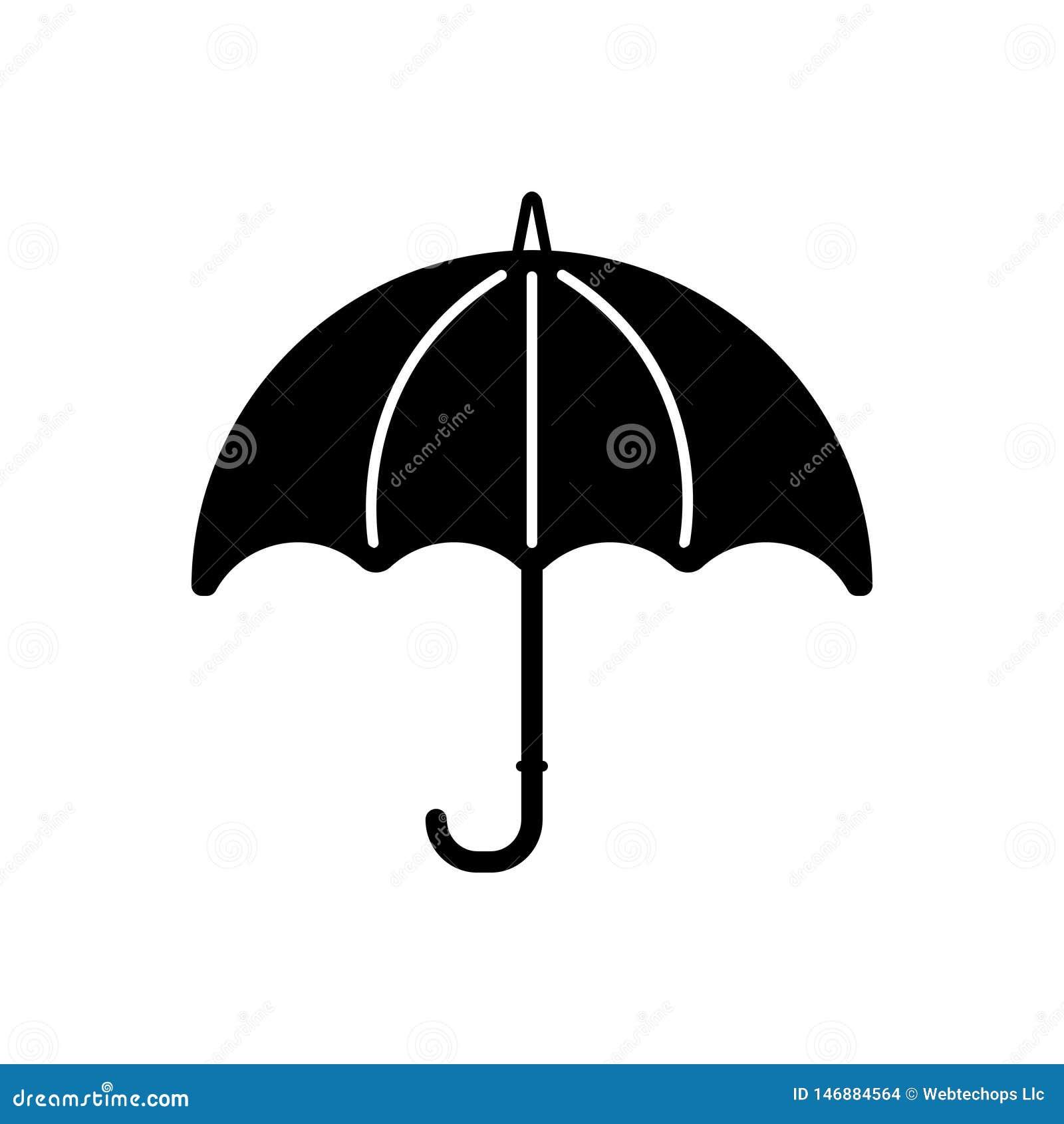 Svart fast symbol för paraply, säkert och regnigt