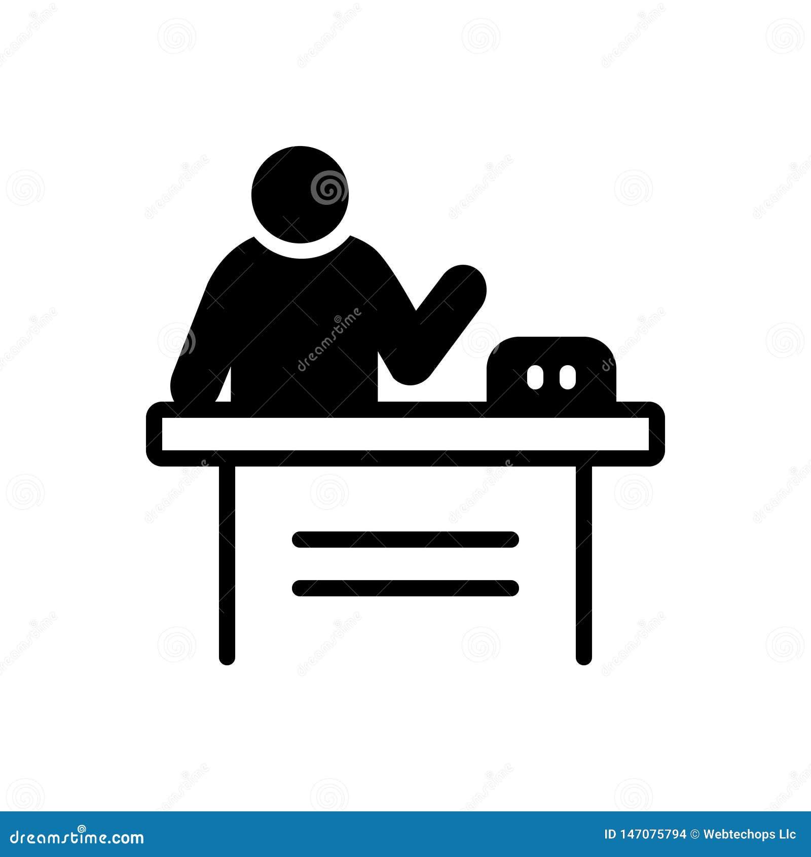 Svart fast symbol för presentation, demonstration och produkt