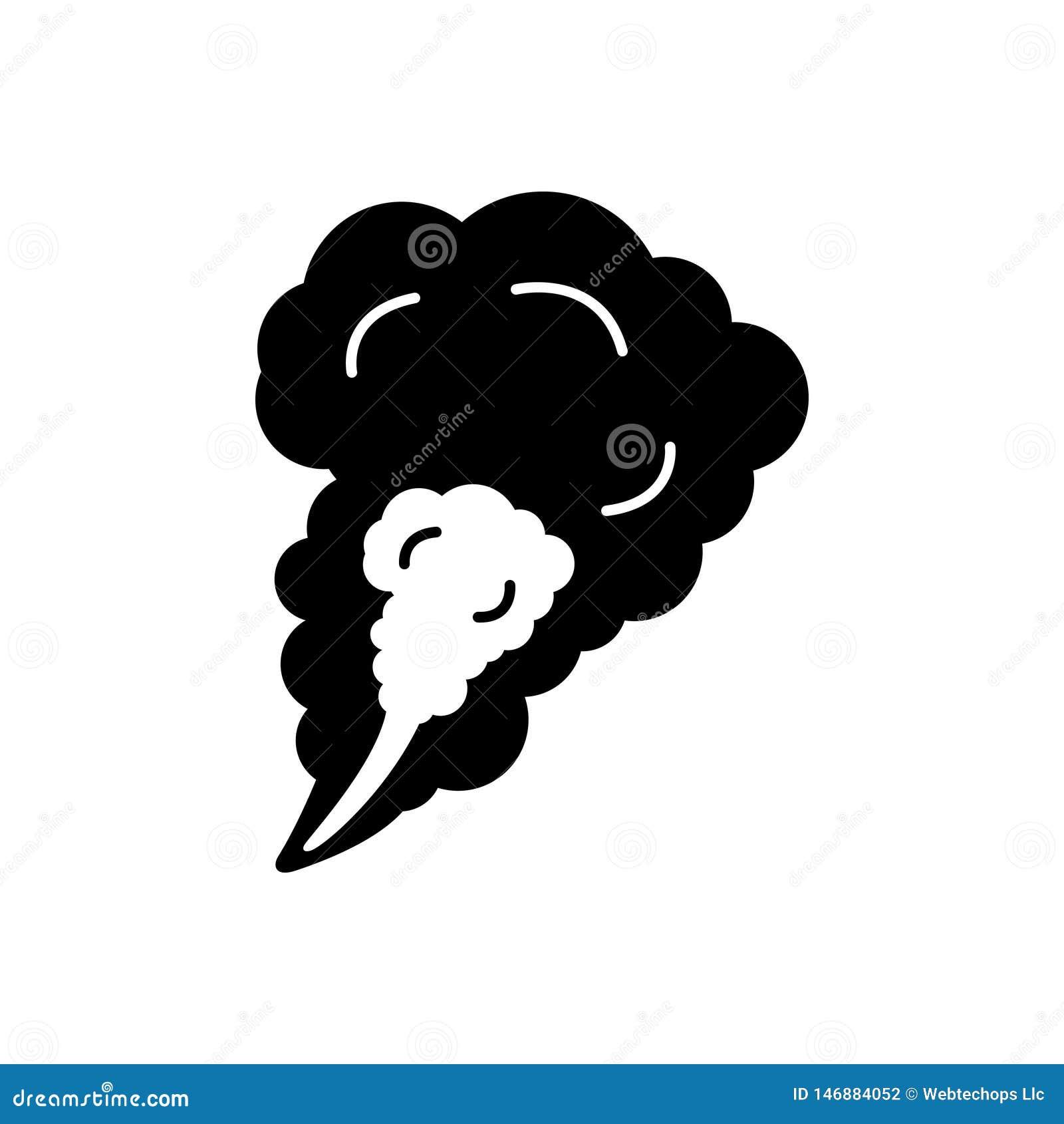 Svart fast symbol för rök, dimma och ånga