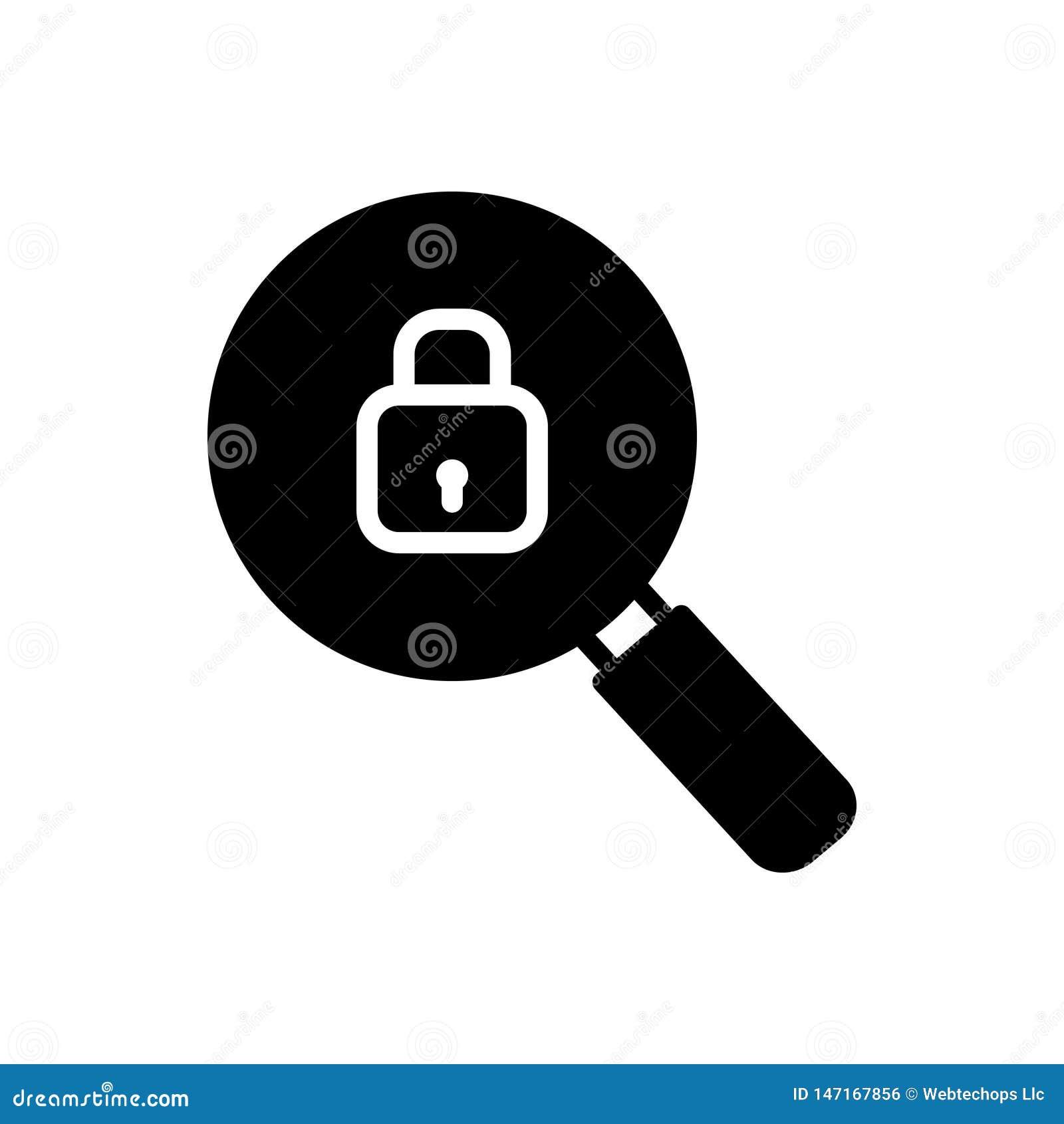 Svart fast symbol för sökande som är säkra och att bläddra