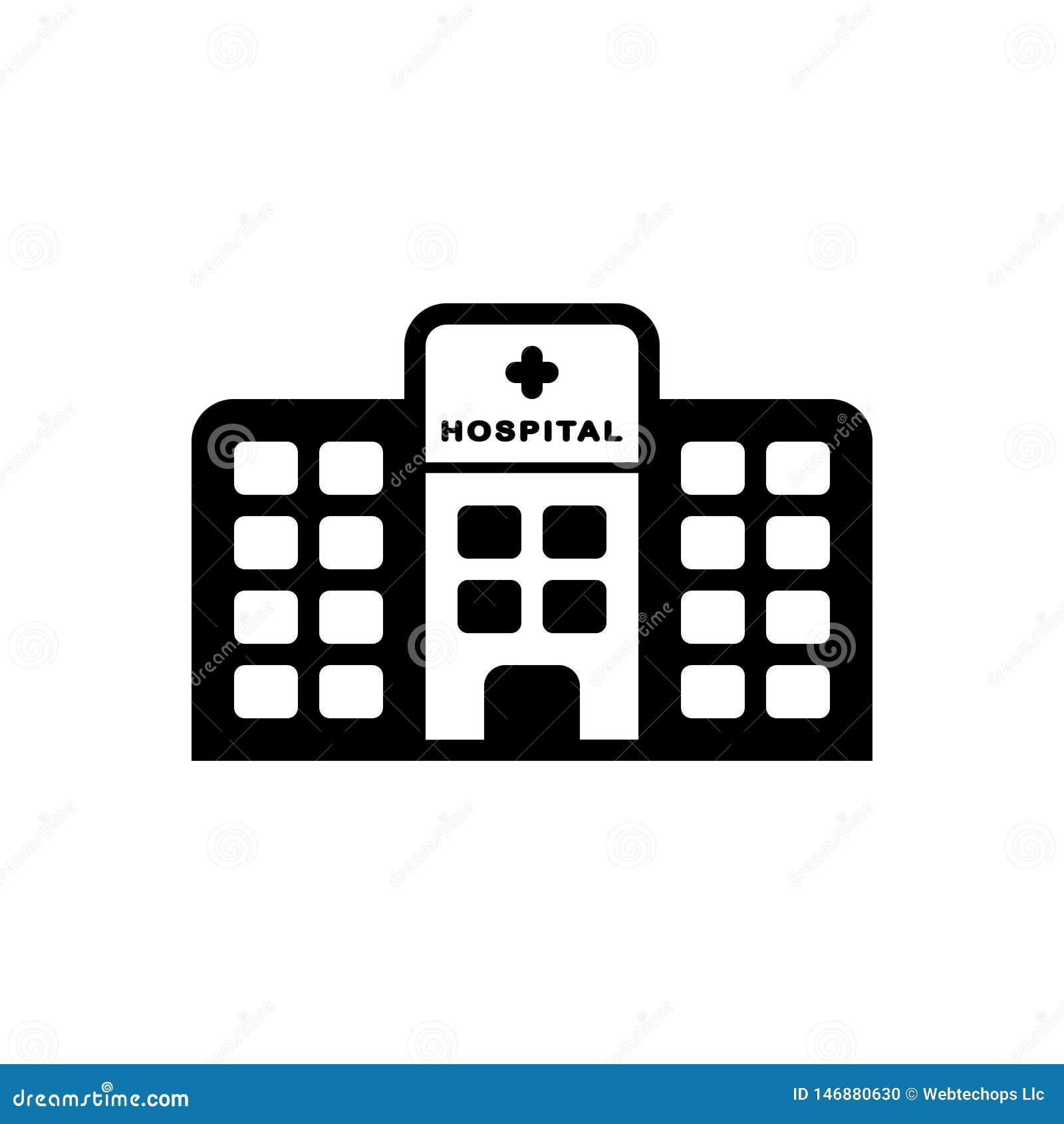 Svart fast symbol för sjukhusbyggnad, klinik och sjukvård