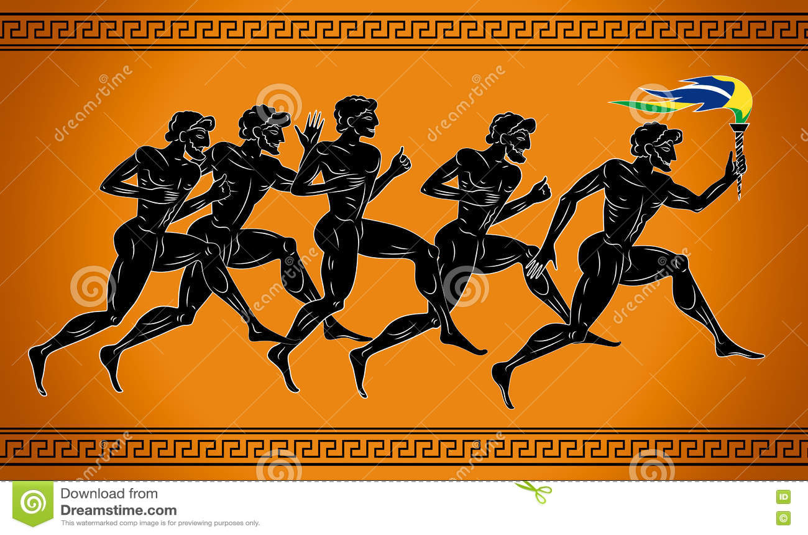 Svart-figurerade löpare med facklan i färgerna av den brasilianska flaggan Illustration i gammalgrekiskastilen